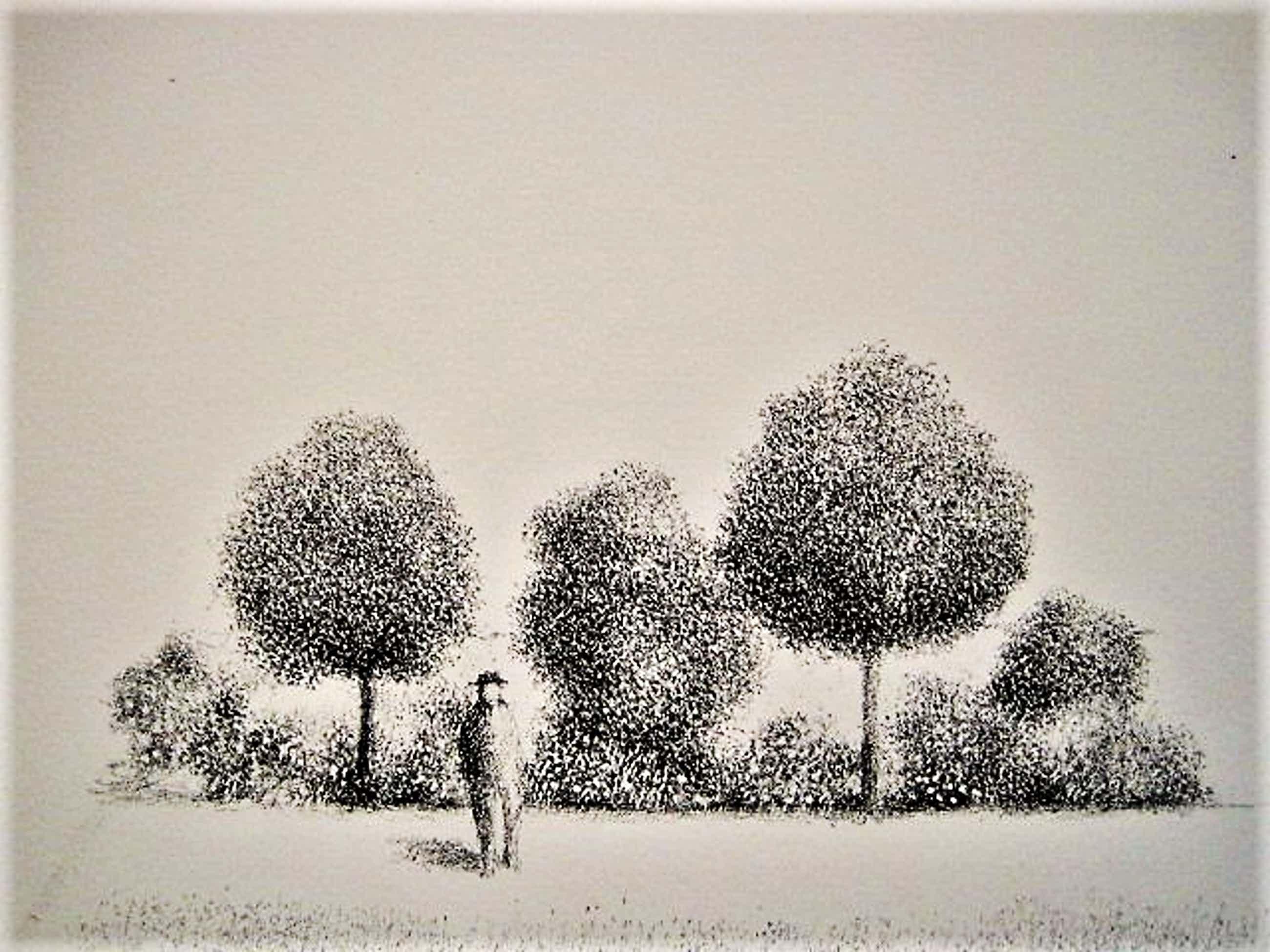 Metten Koornstra - meester van de verstilling - Litho Man in landschap - gesigneerd - jaren 60 kopen? Bied vanaf 150!