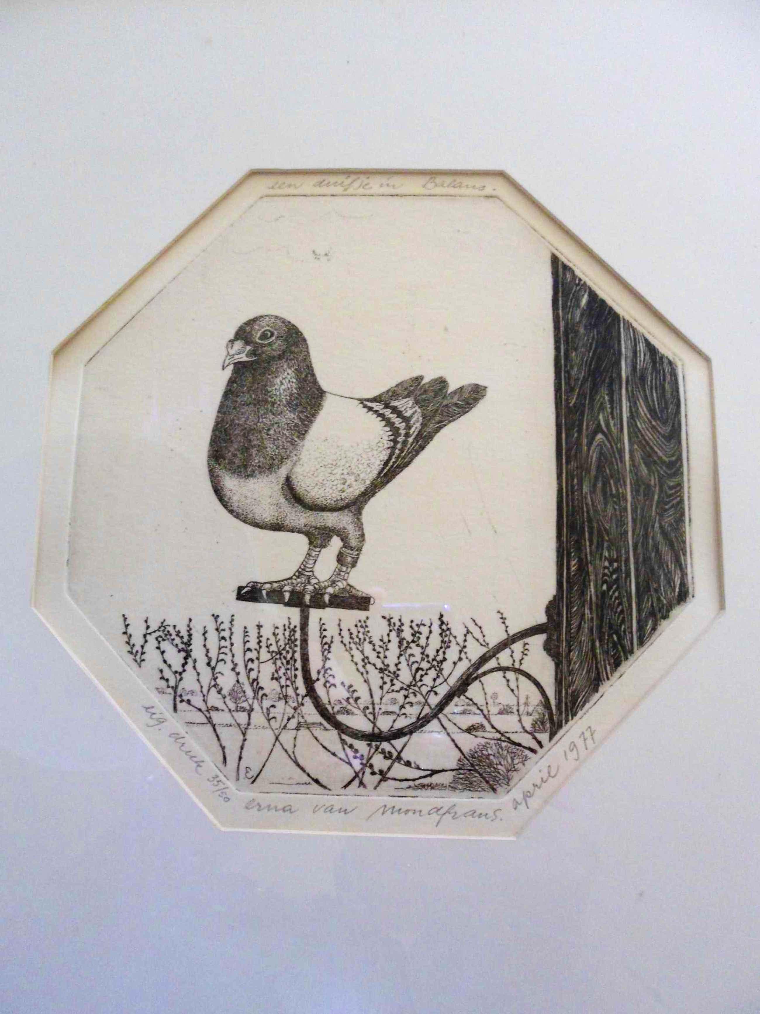 """Erna van Mondfrans - Ets. Titel,""""Een duifje in balans"""". kopen? Bied vanaf 35!"""
