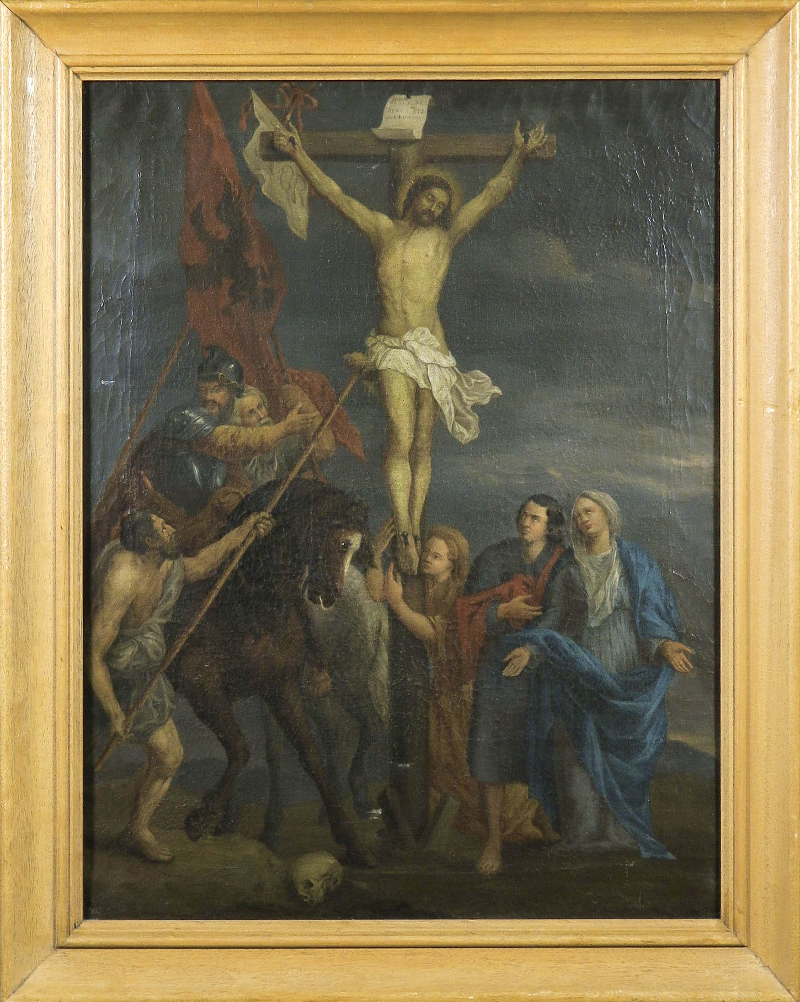 Niet of onleesbaar gesigneerd - Olieverf op doek, Christus aan het kruis - Ingelijst kopen? Bied vanaf 71!