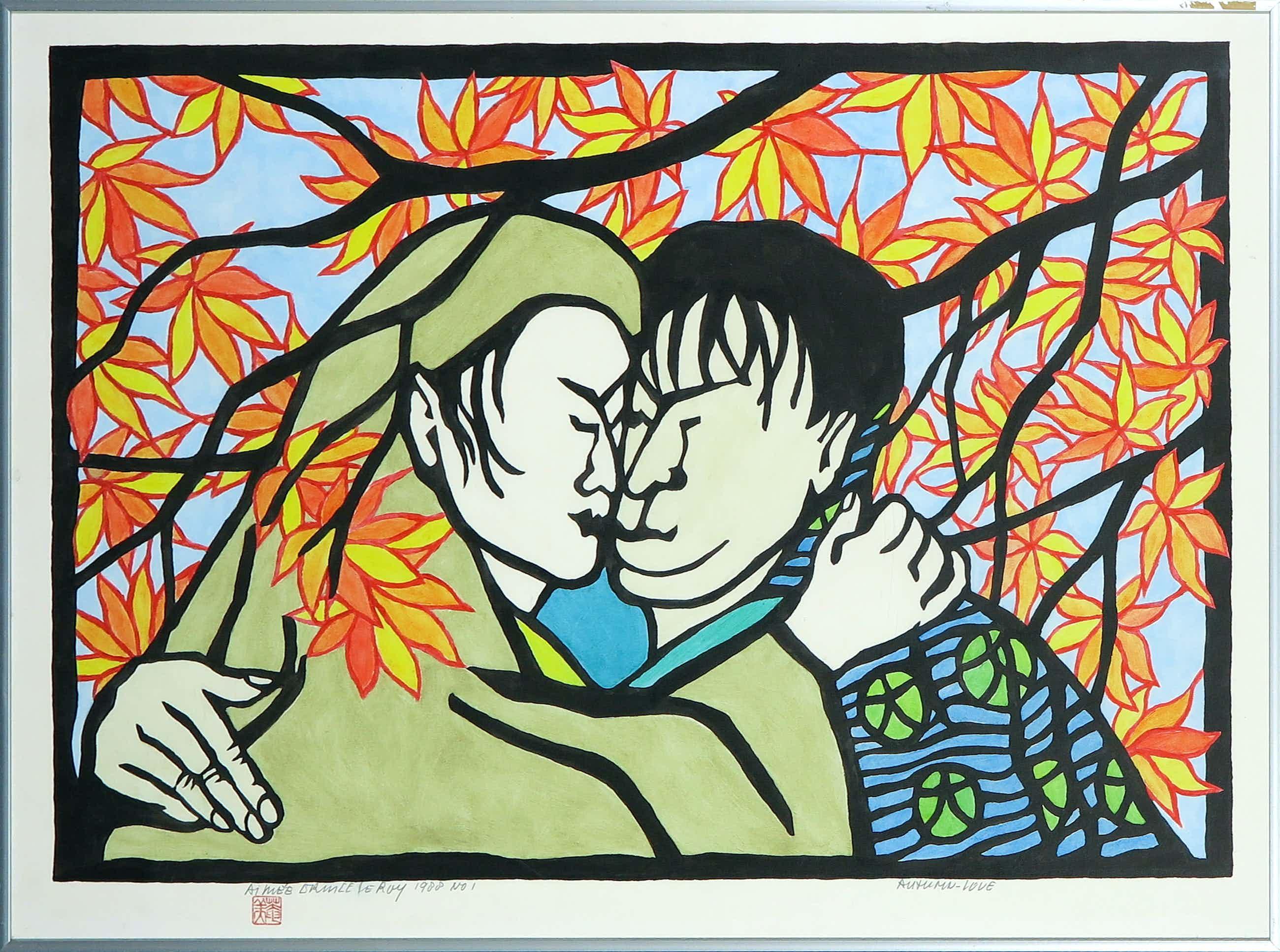 Aimee Crince le Roy - Met de hand bewerkte houtdruk, Autumn-love - Ingelijst kopen? Bied vanaf 40!