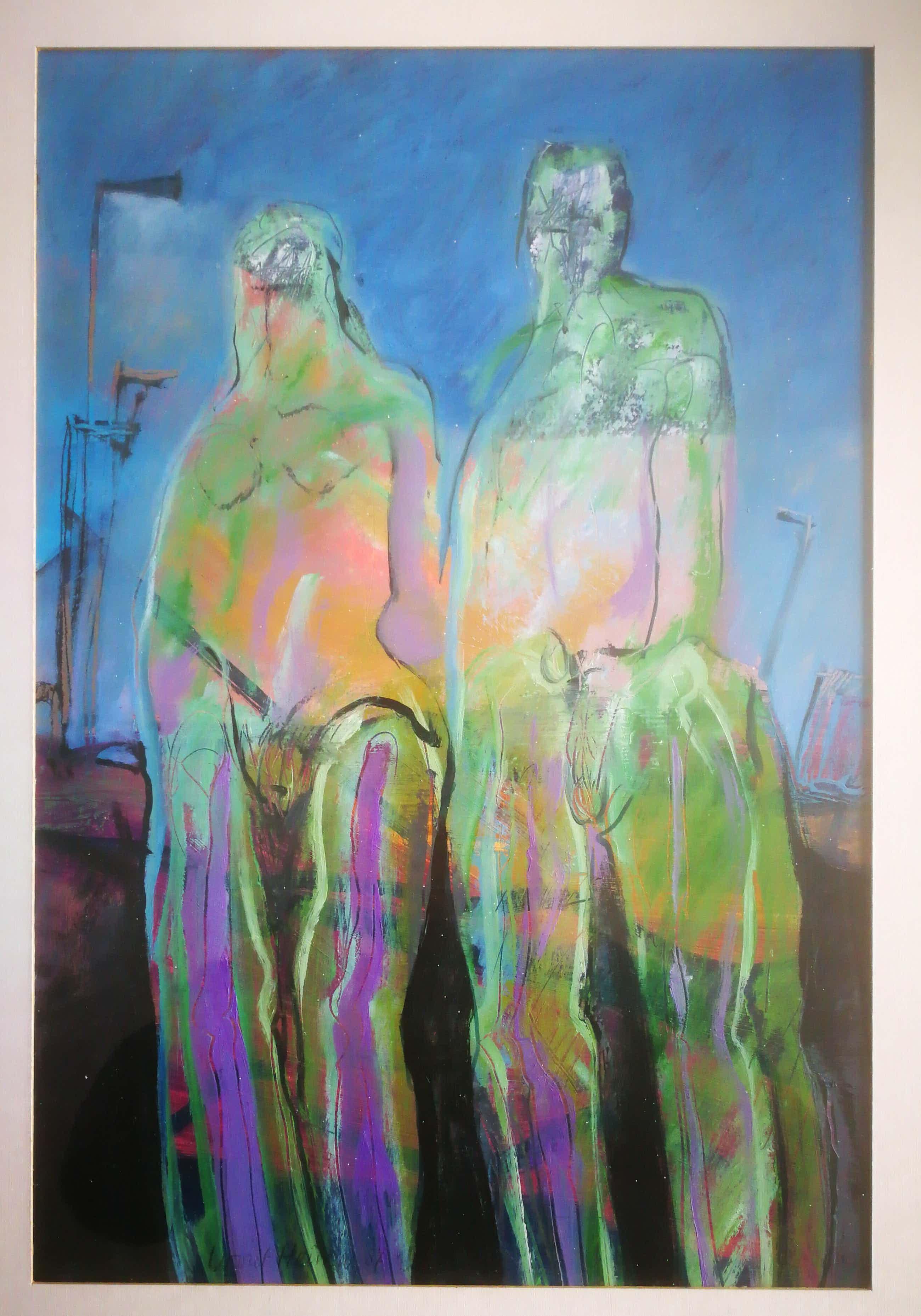 Wout Heinen - Twee figuren. Vrouw en man. Naakt. kopen? Bied vanaf 39!