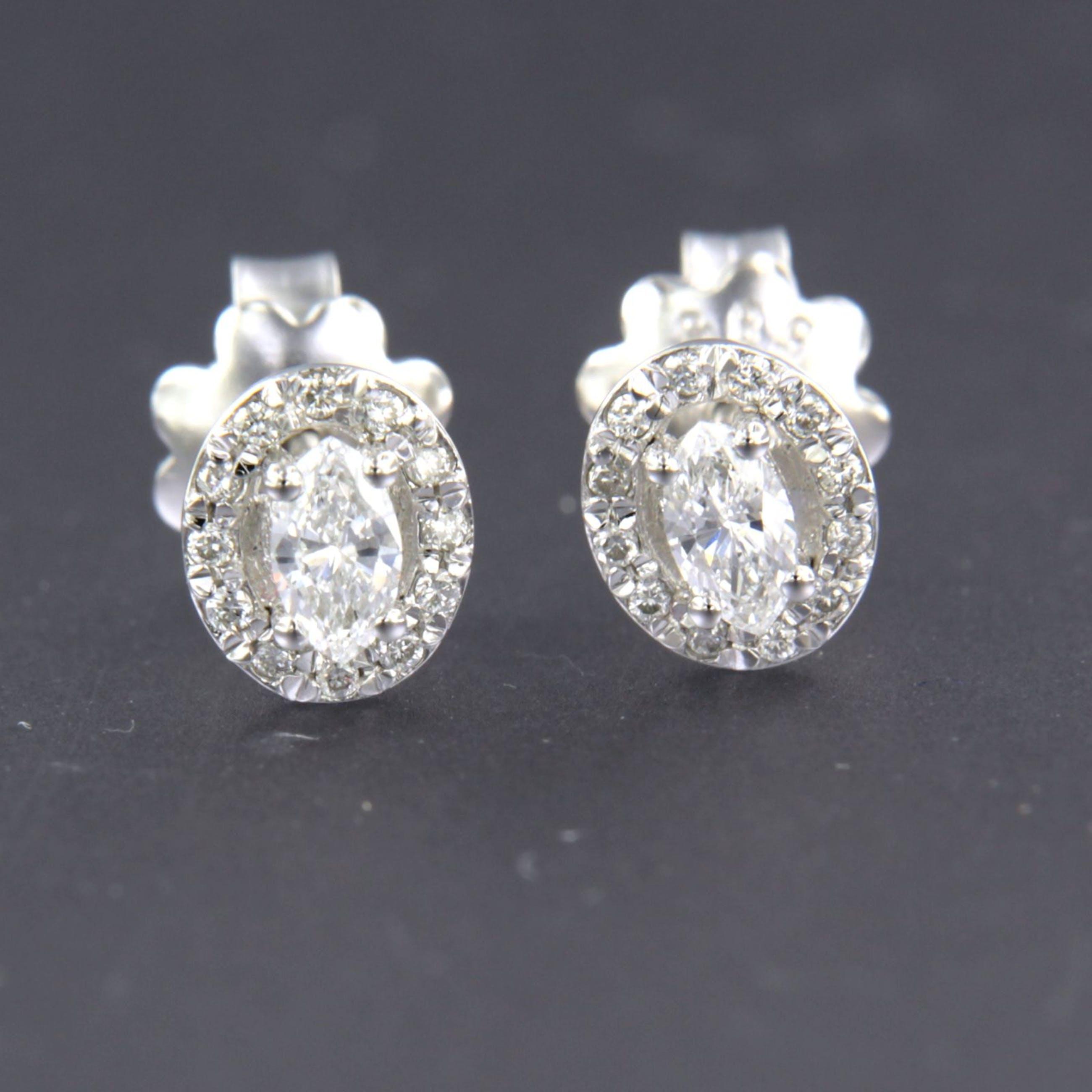14K Goud - witgouden oorknoppen bezet met markies en briljant geslepen diamanten kopen? Bied vanaf 300!