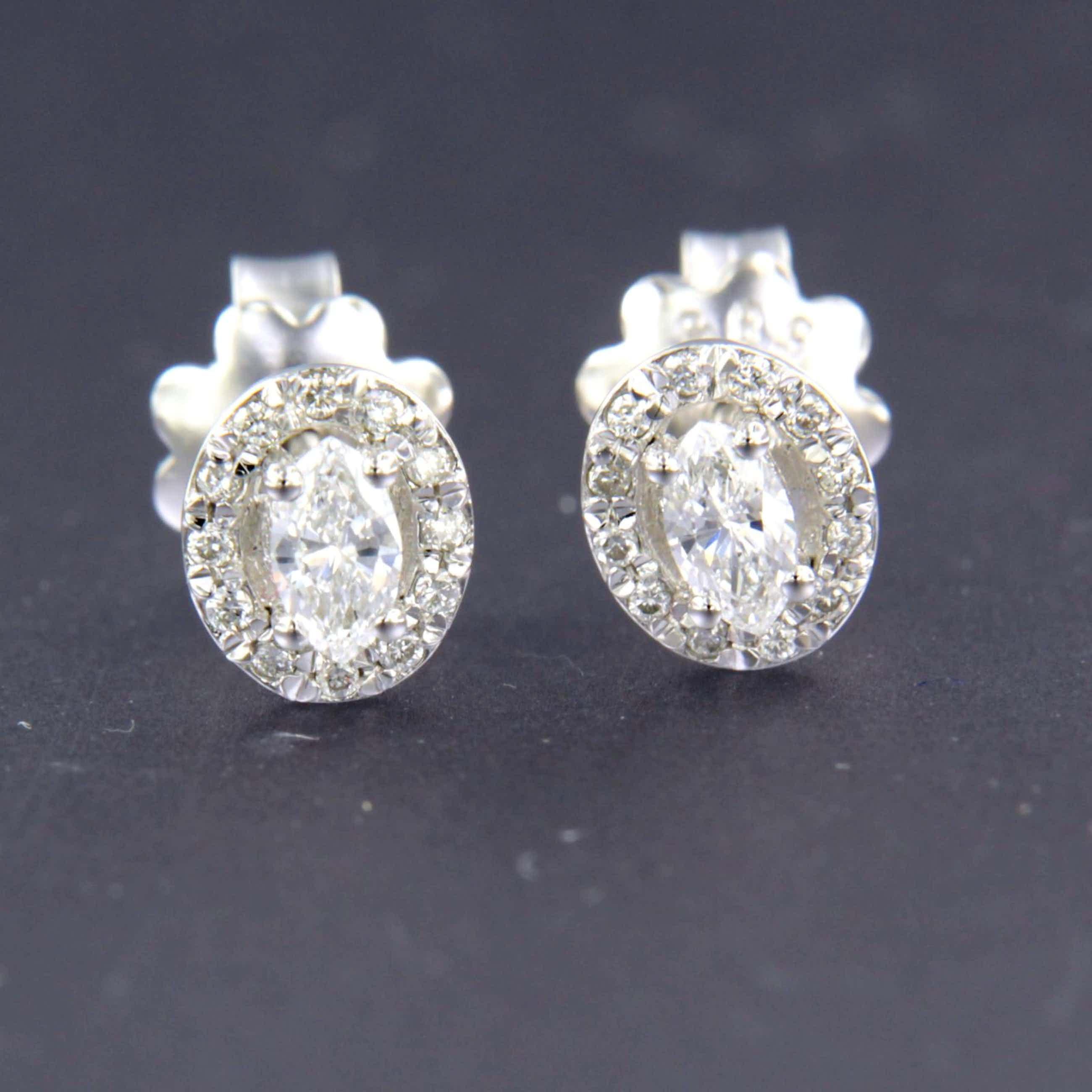 14K Goud - witgouden oorknoppen bezet met markies en briljant geslepen diamanten kopen? Bied vanaf 240!