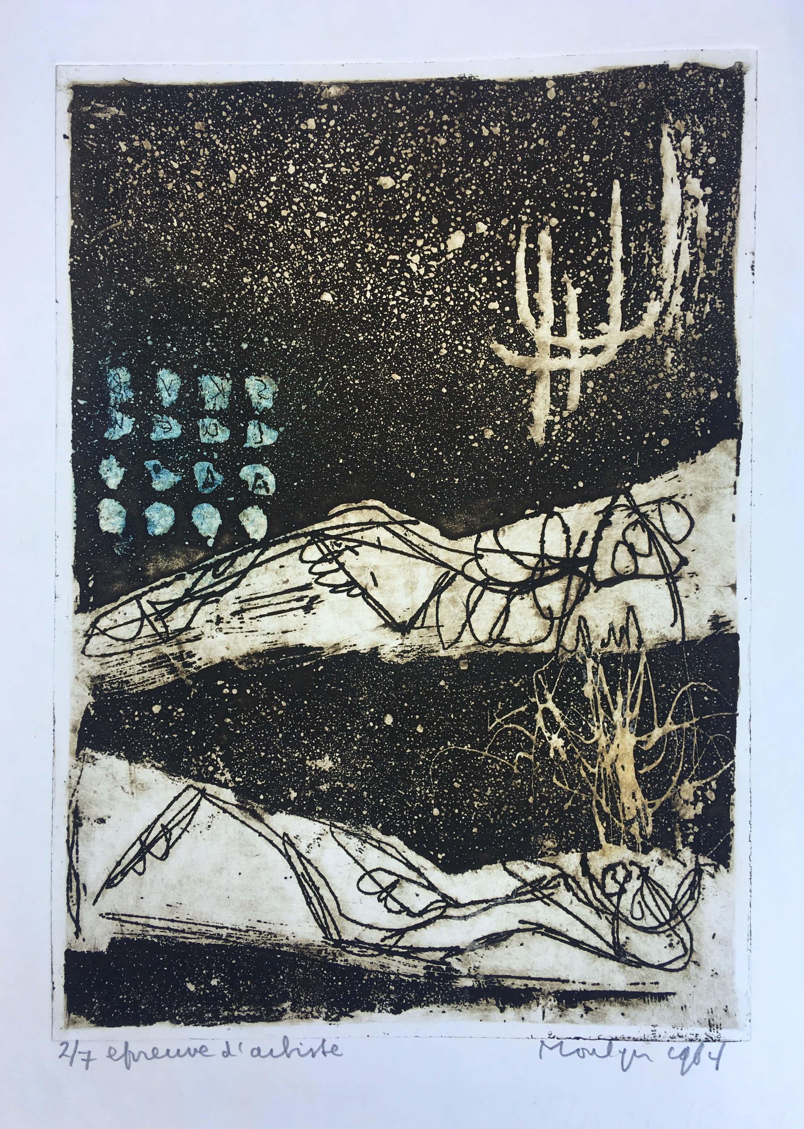 Jan Montyn - ets uit 1964 'Image of Dylan Thomas'+ handgeschreven gedicht - oplage 7 ex. kopen? Bied vanaf 115!