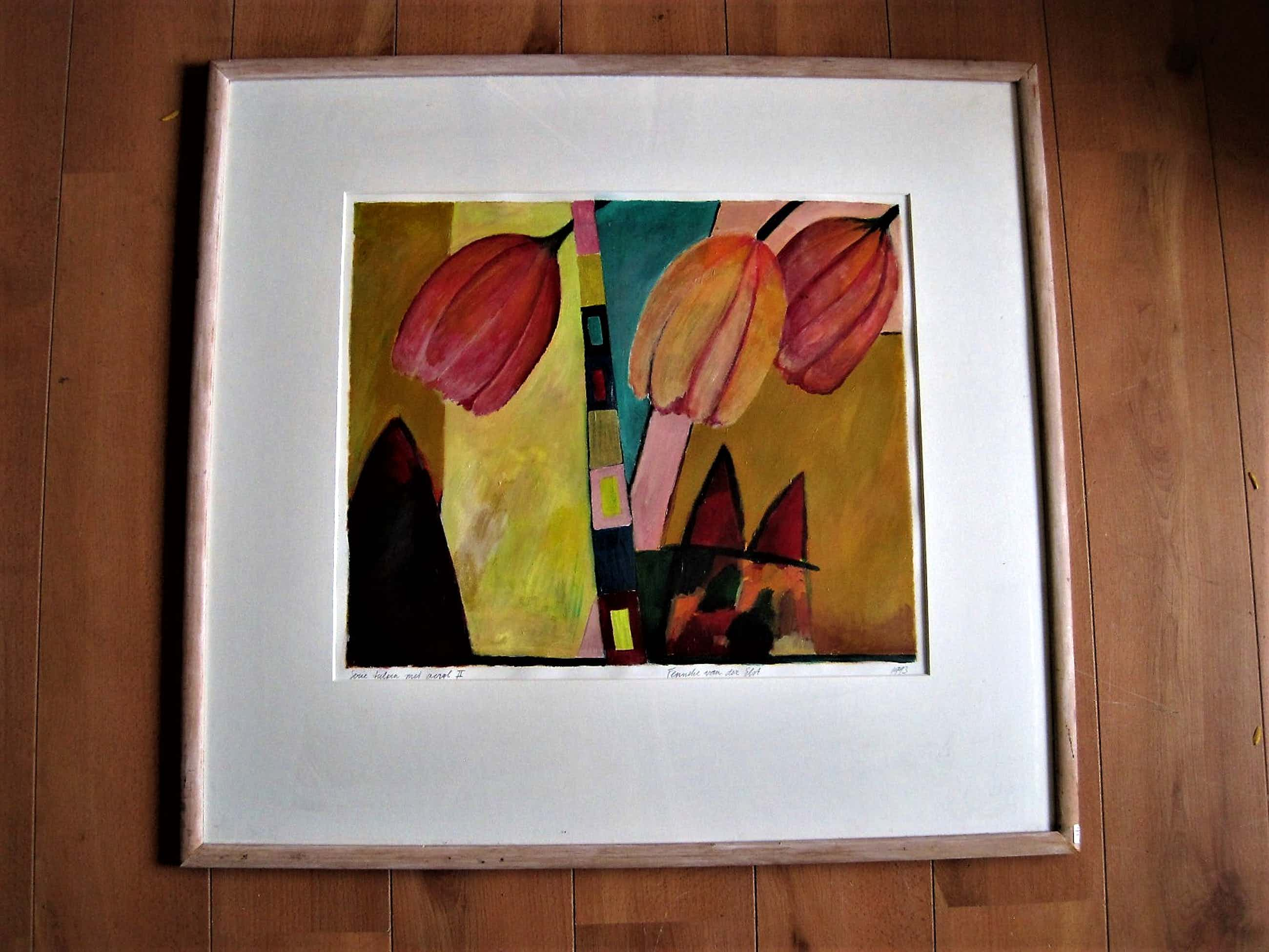 """Fenneke van der Elst - GROOT Acrylverf / papier Schilderij """"Tulpen"""" gesigneerd en fraai gelijst kopen? Bied vanaf 41!"""