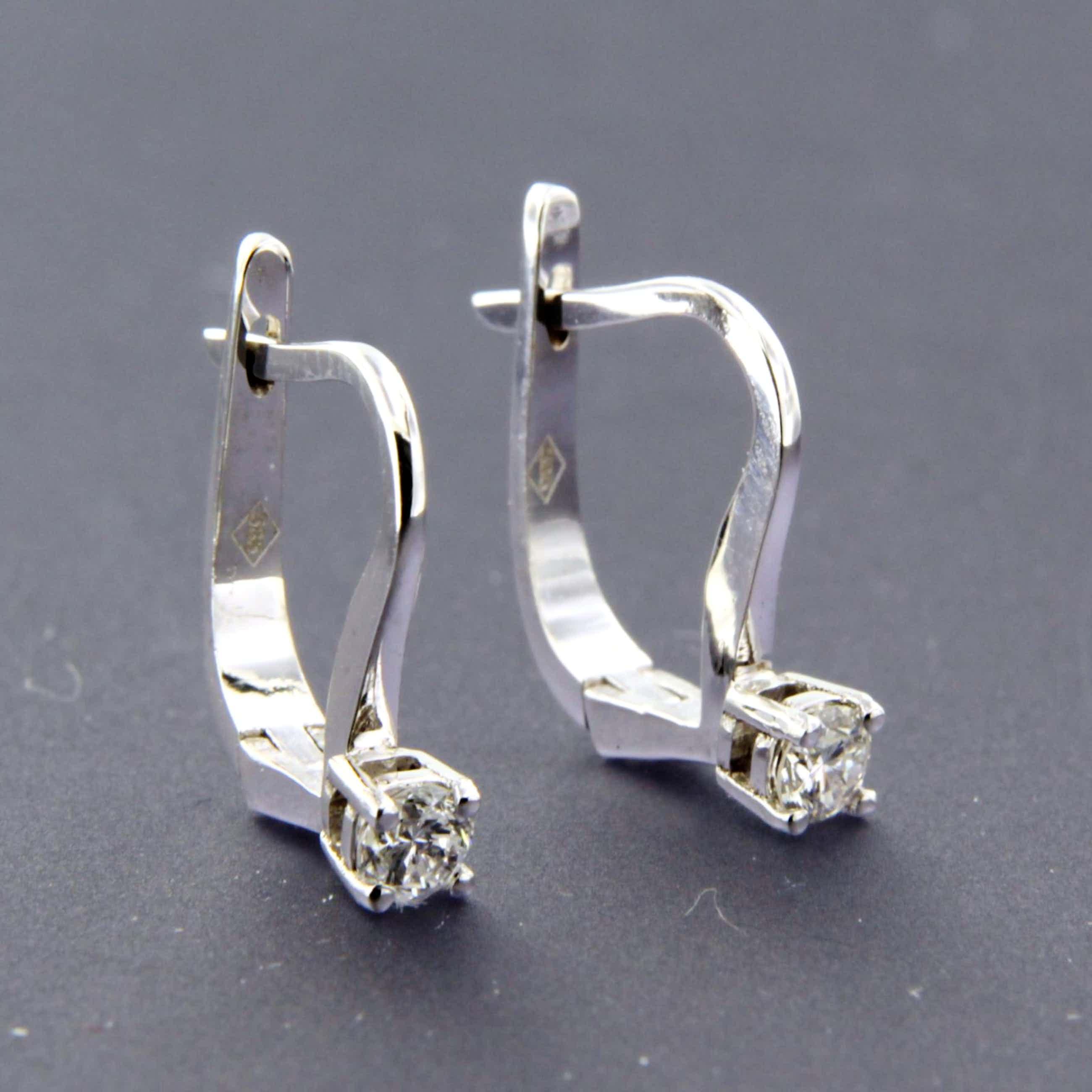 14K Goud - witgouden oorhangers bezet met briljant geslepen diamant kopen? Bied vanaf 250!