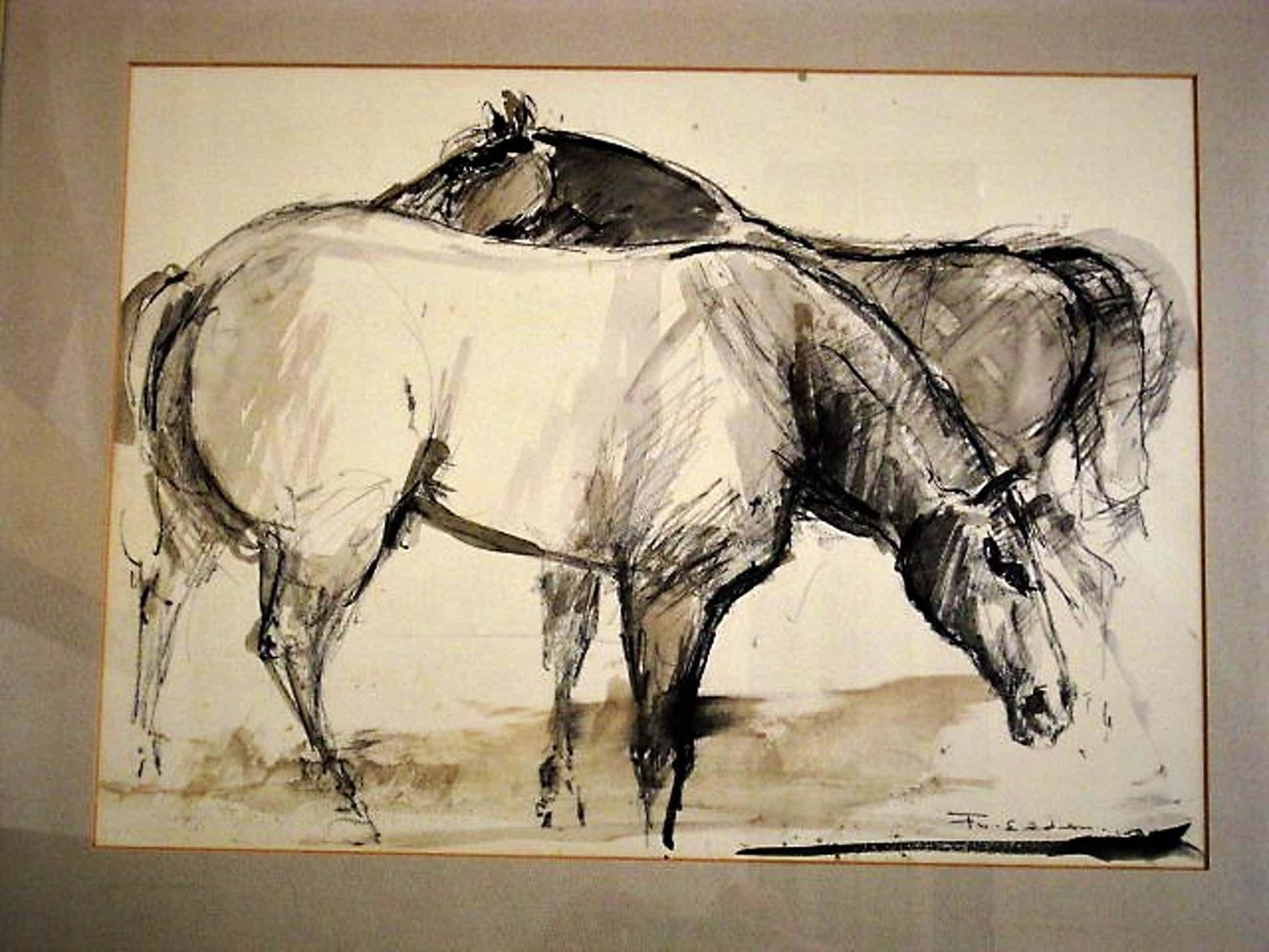 """Frits van Eeden - Karakteristiek """"Wilde Paarden"""" Aquarel van internationaal gelauwerde schilder kopen? Bied vanaf 46!"""