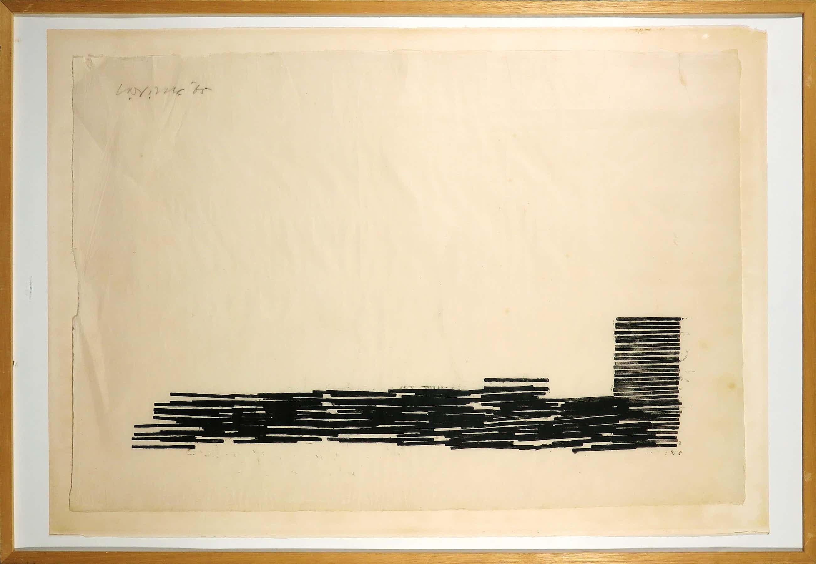 Carel Visser - Houtsnede monotype op Japans papier, Zonder titel - Ingelijst (Groot) kopen? Bied vanaf 340!