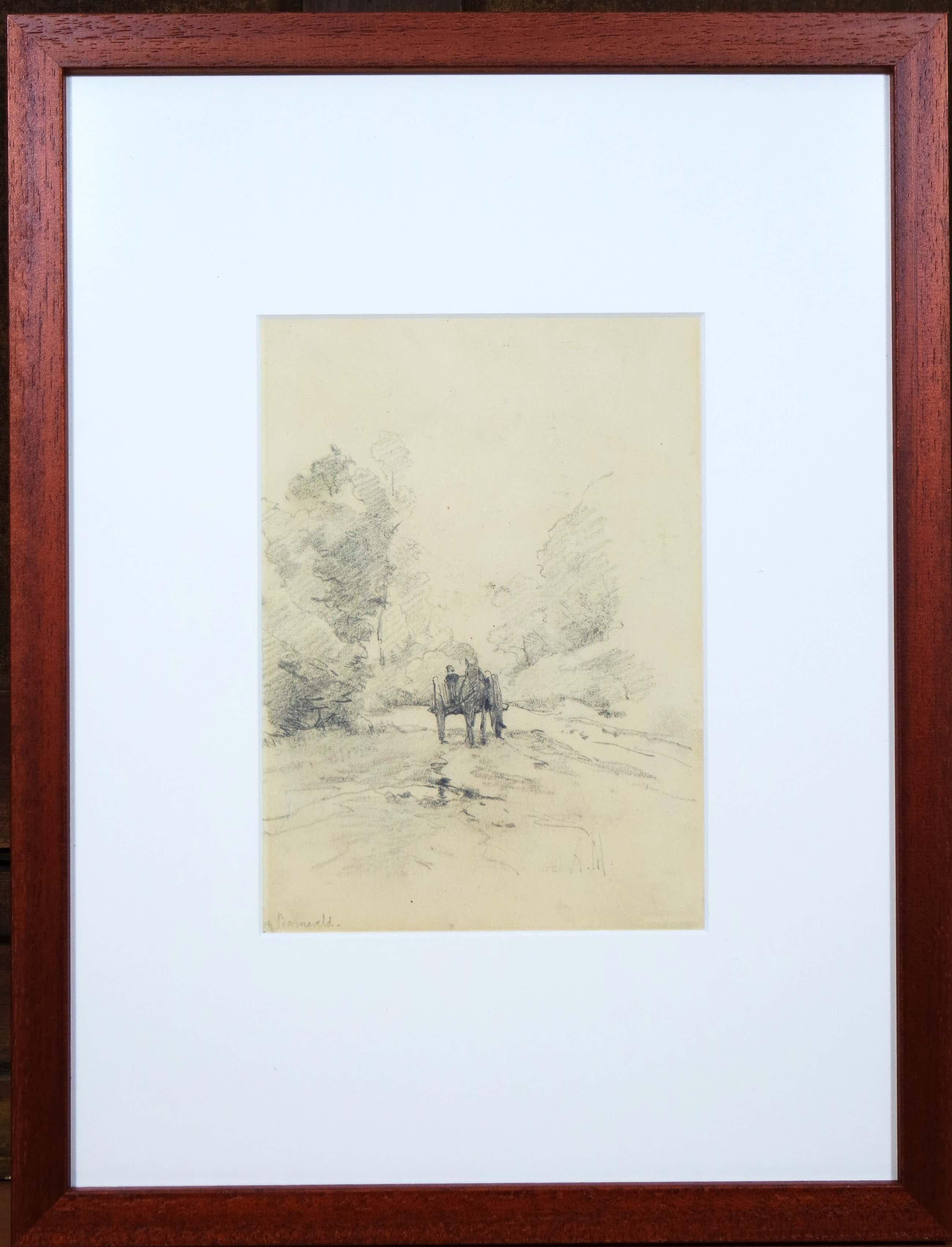 Anton Mauve (sr.) - potloodtekening - landschap met paard en wagen kopen? Bied vanaf 695!