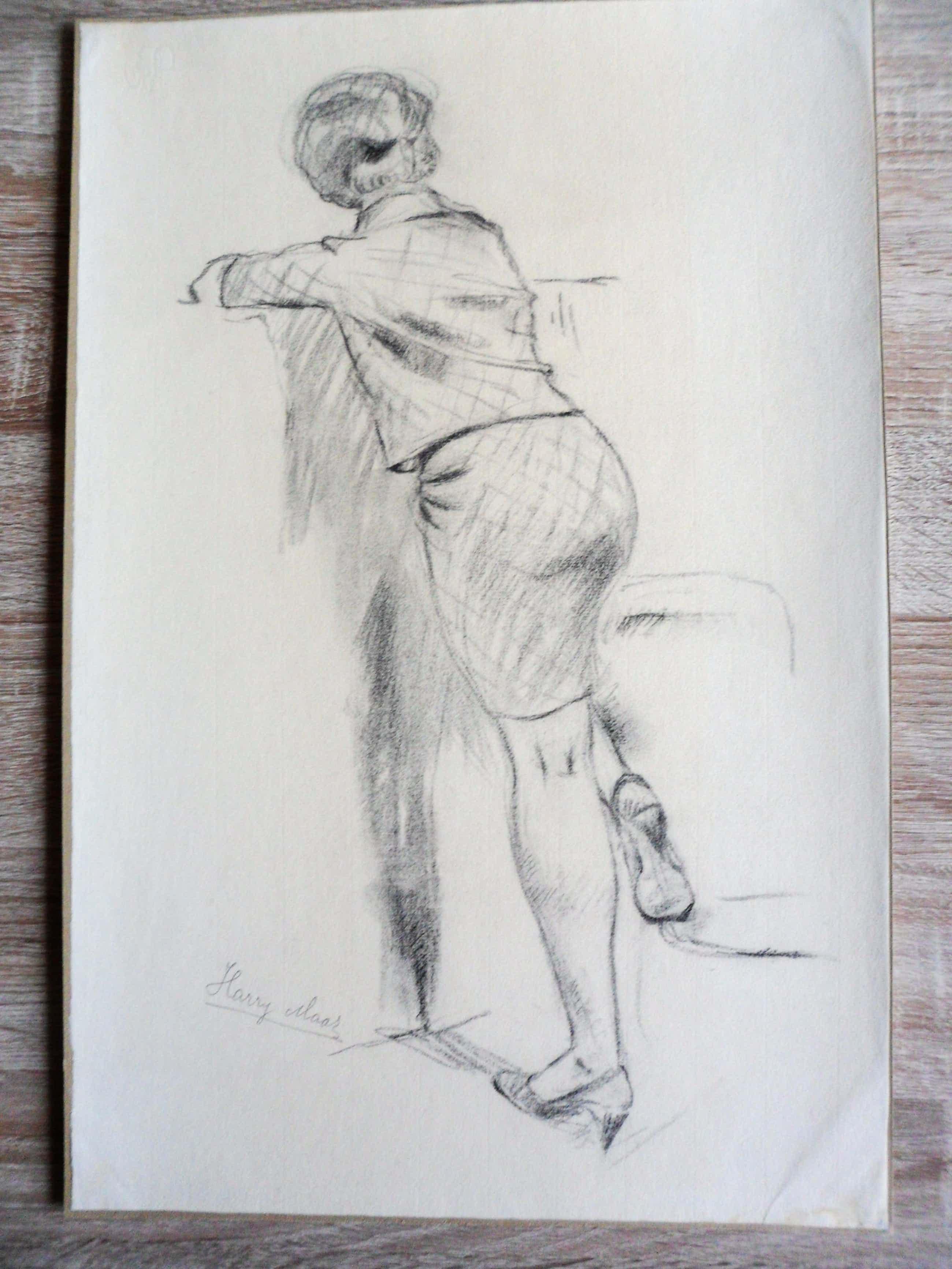 Harry Maas - Potloodtekening . poserende (school)meisje. kopen? Bied vanaf 70!