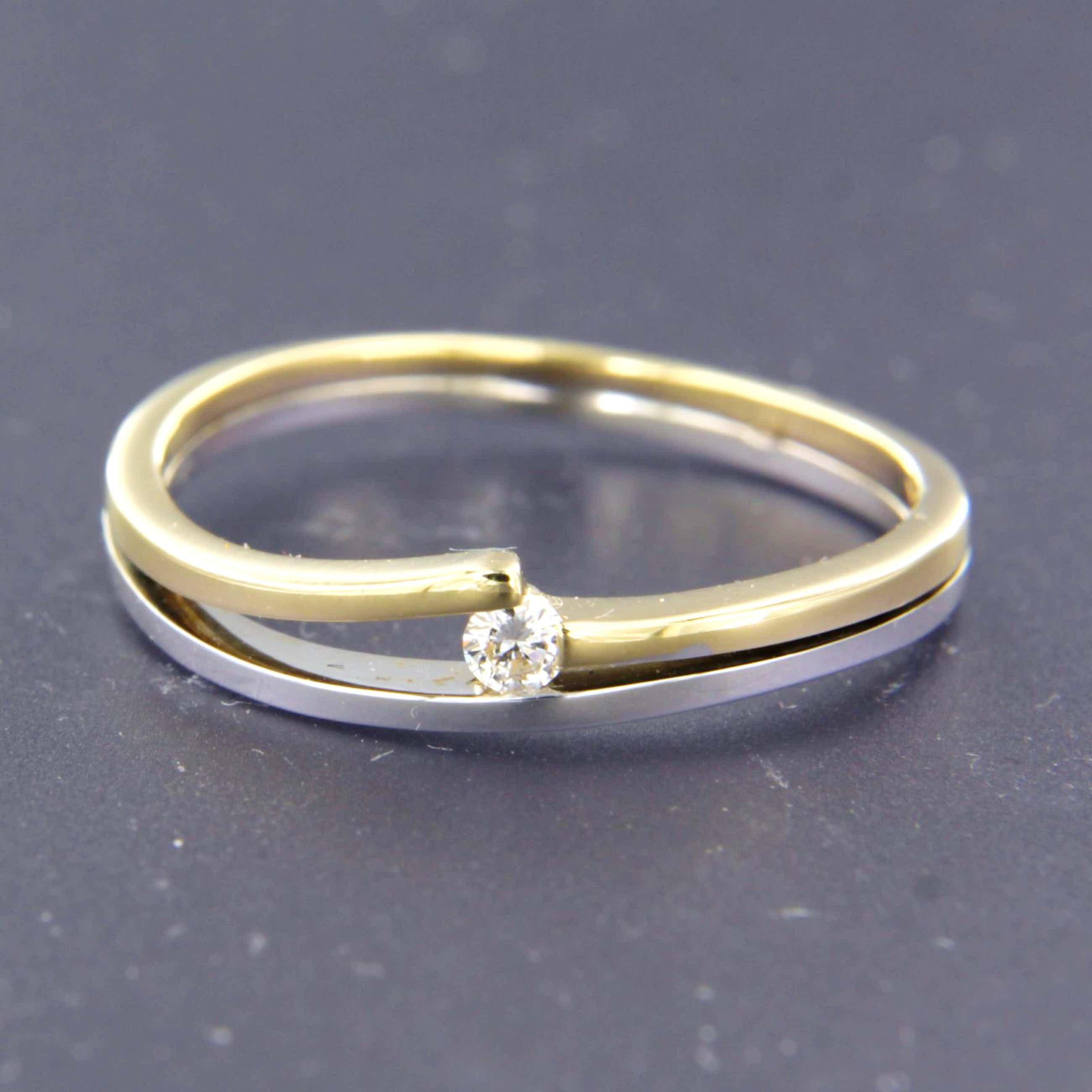 14K Goud - bicolor ring bezet met briljant geslepen diamant - LeChic - kopen? Bied vanaf 160!