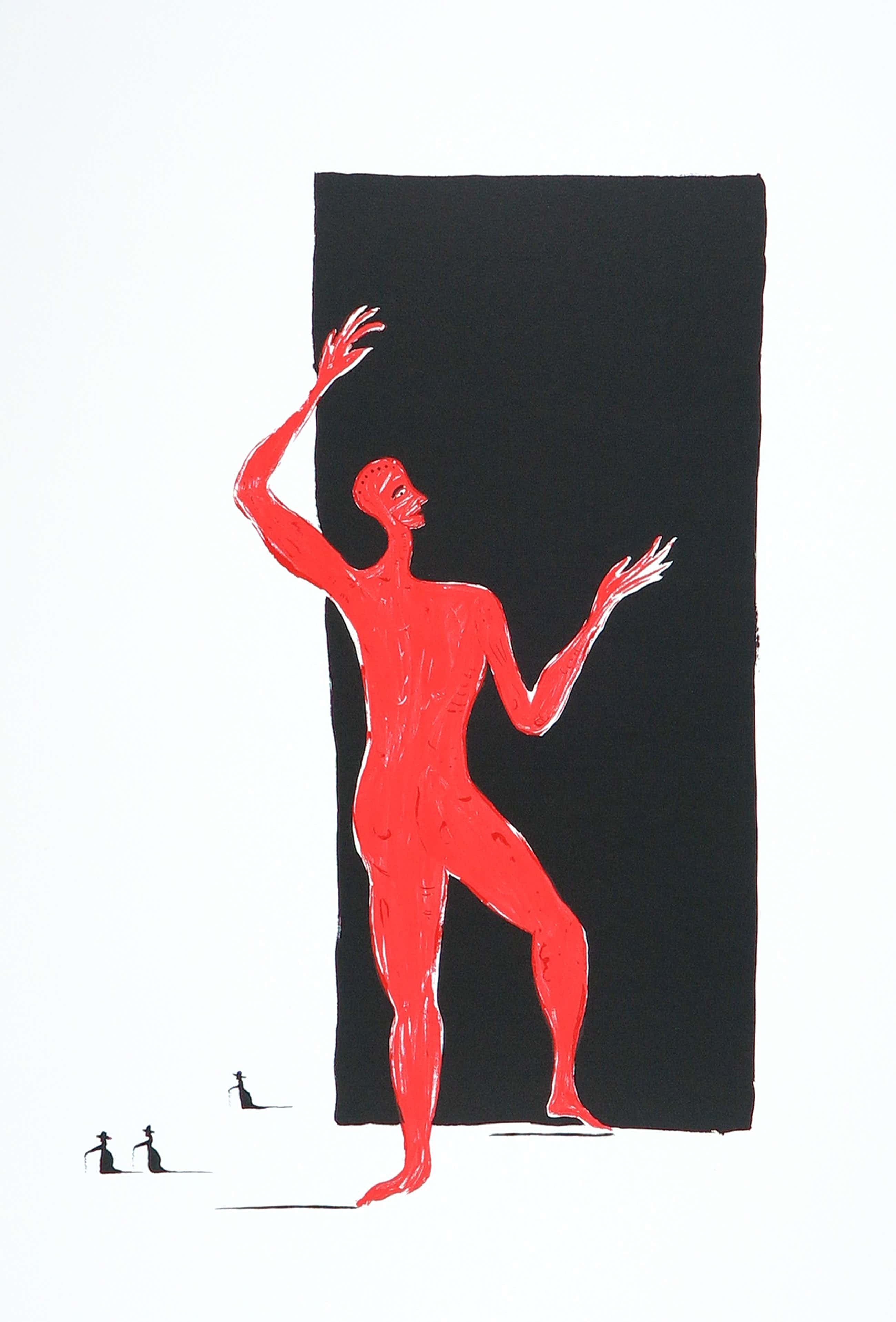 Henk Visch - Litho, Rood figuur kopen? Bied vanaf 80!