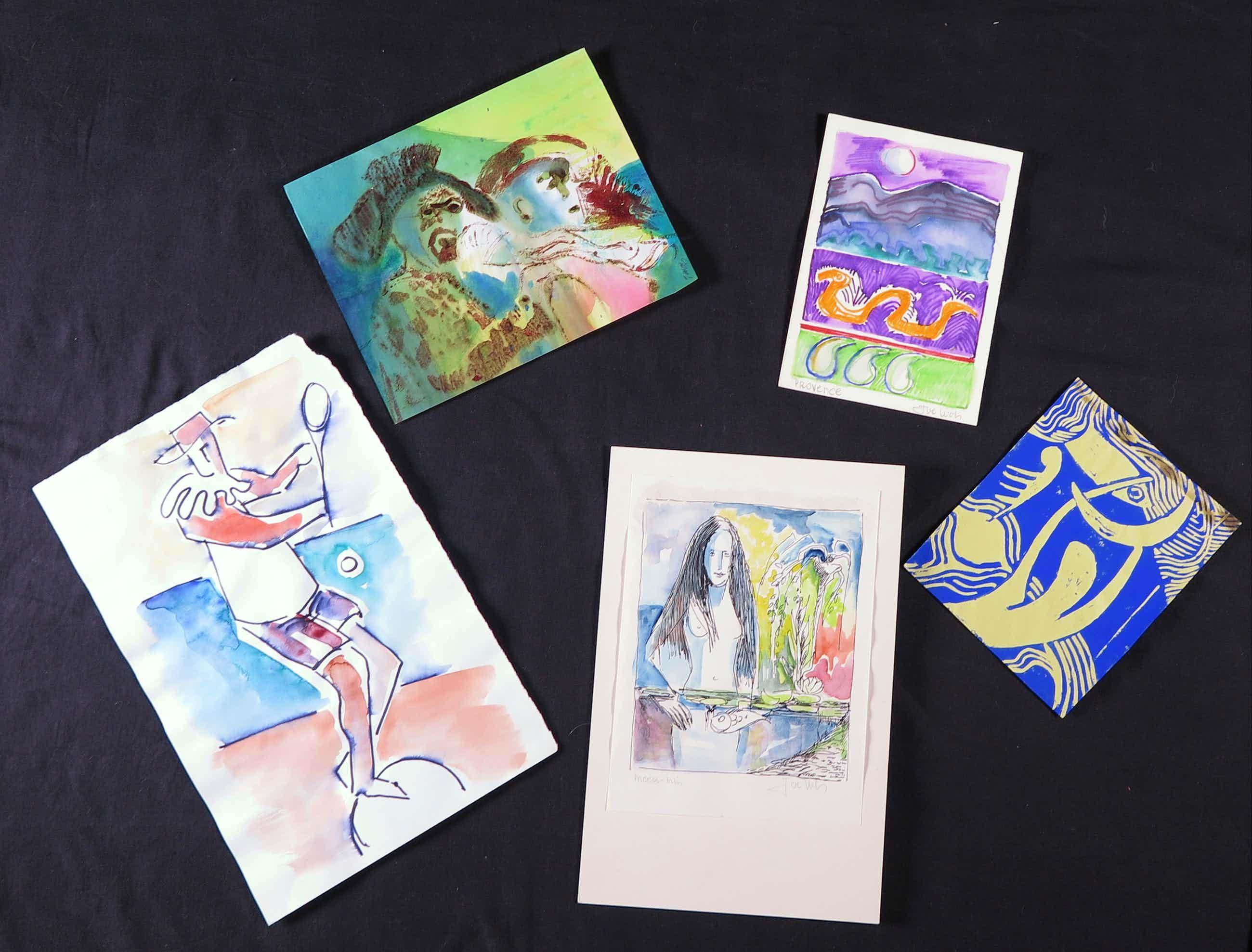 Joe Wols - Lot van vijf kleurrijke tekeningen met aquarel, verf en balpen kopen? Bied vanaf 1!