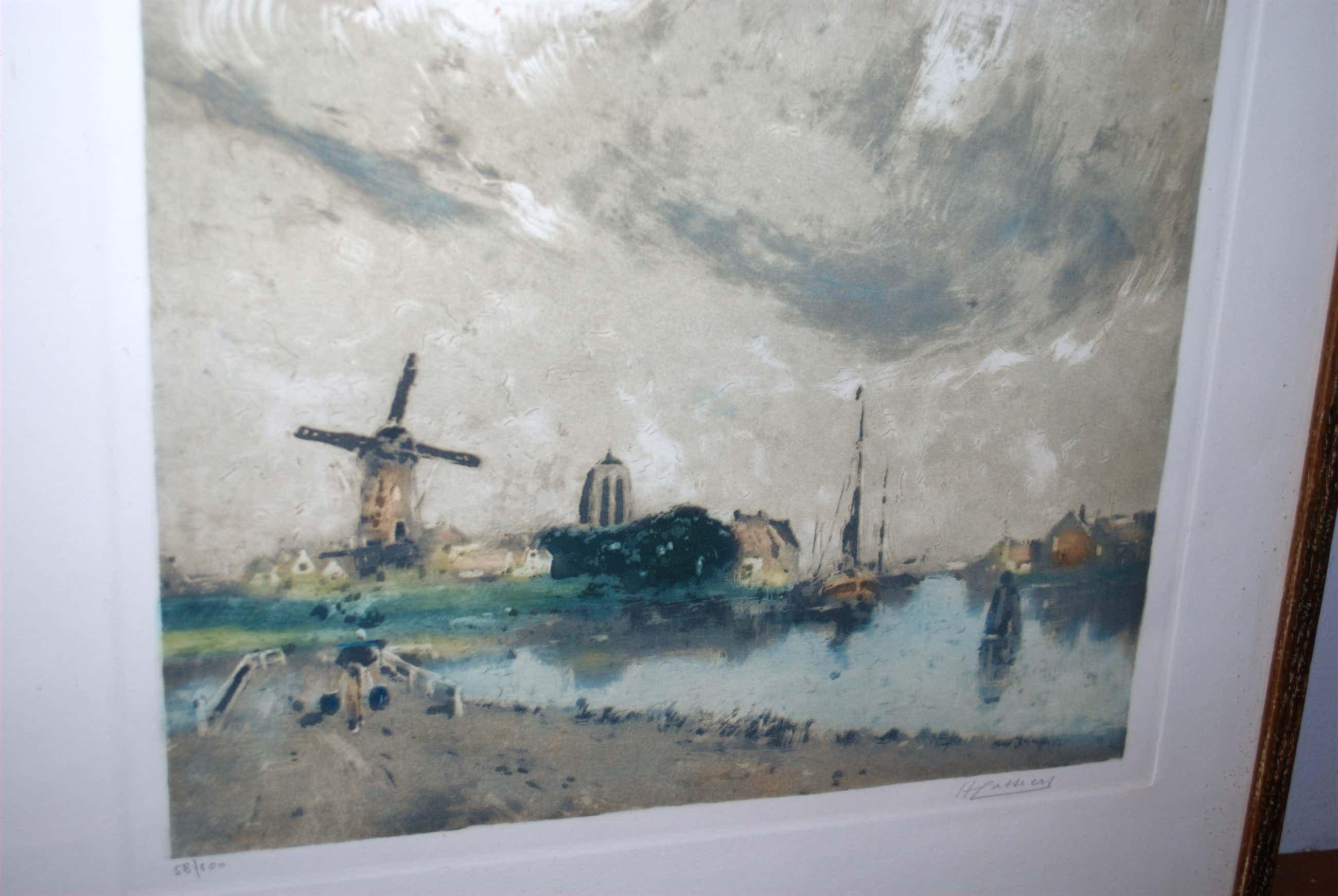 Henry Cassiers - ets/aquatint = waterlandschap met molen = kopen? Bied vanaf 55!