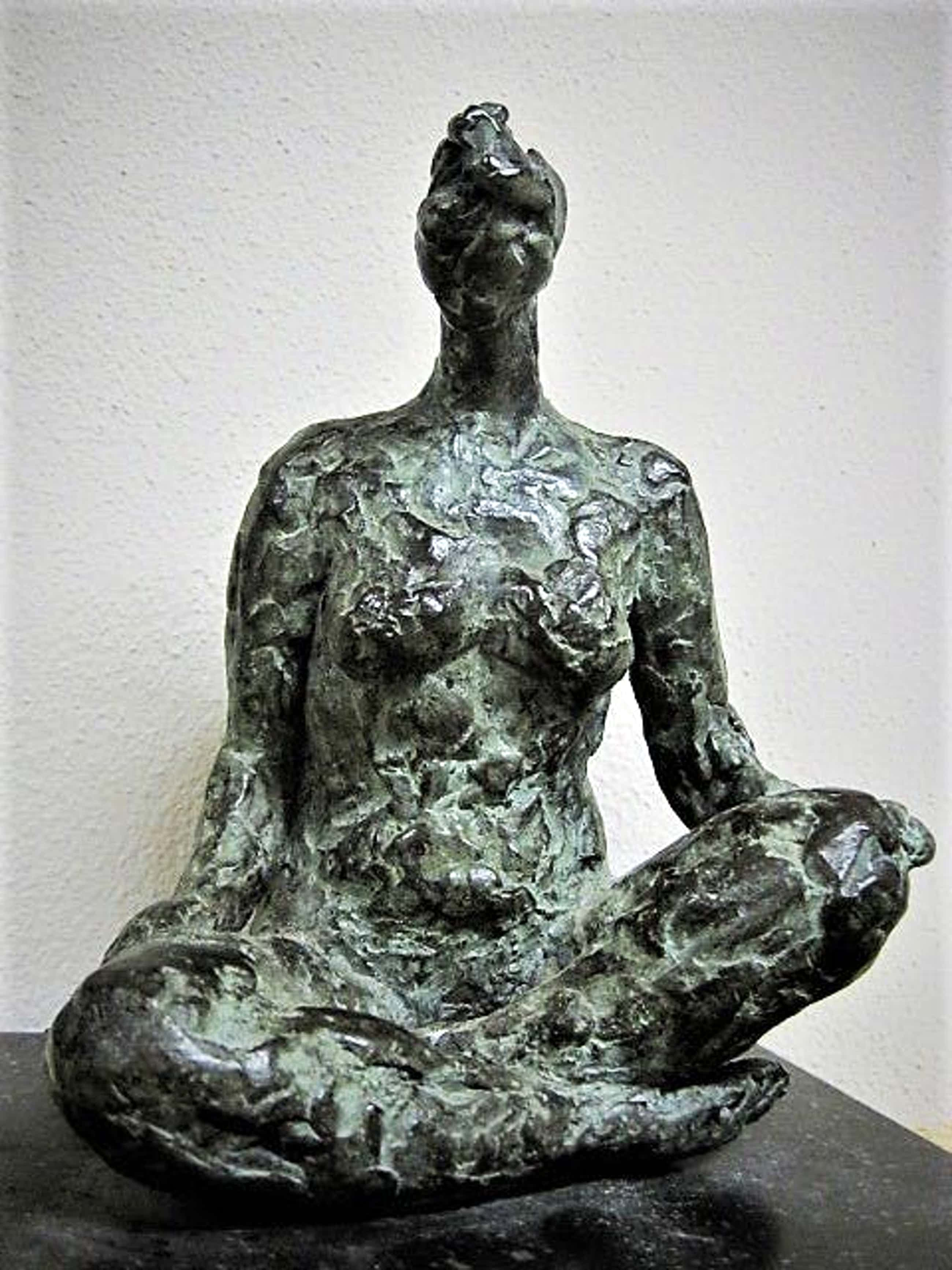 """Maite Duval - Fraai vormgegeven naakt sculptuur in Brons """"Meditatie"""" gesigneerd  kopen? Bied vanaf 280!"""