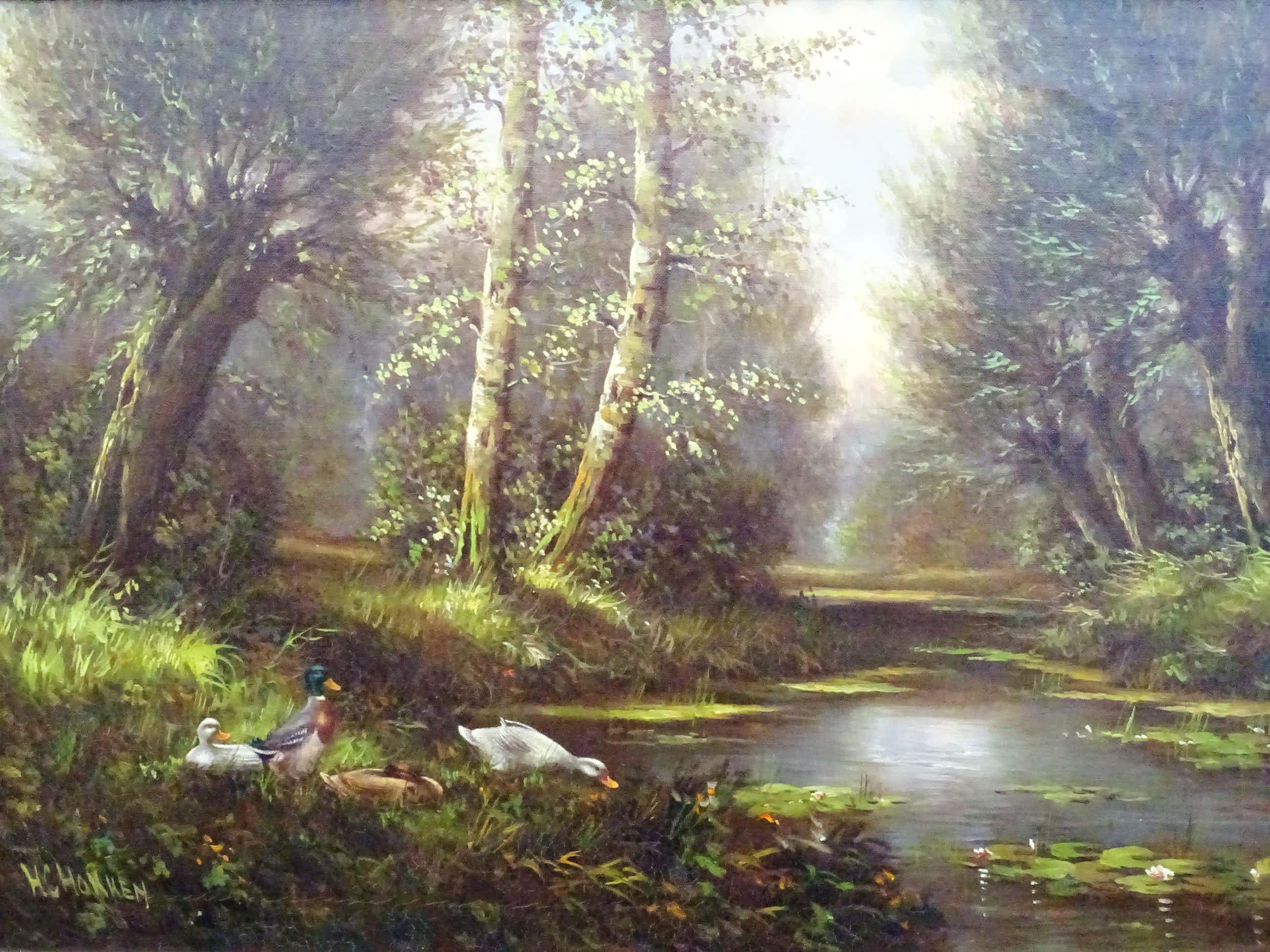 Hermanus Cornelis Hokken - Eenden aan de waterkant in bosrijke omgeving. kopen? Bied vanaf 285!