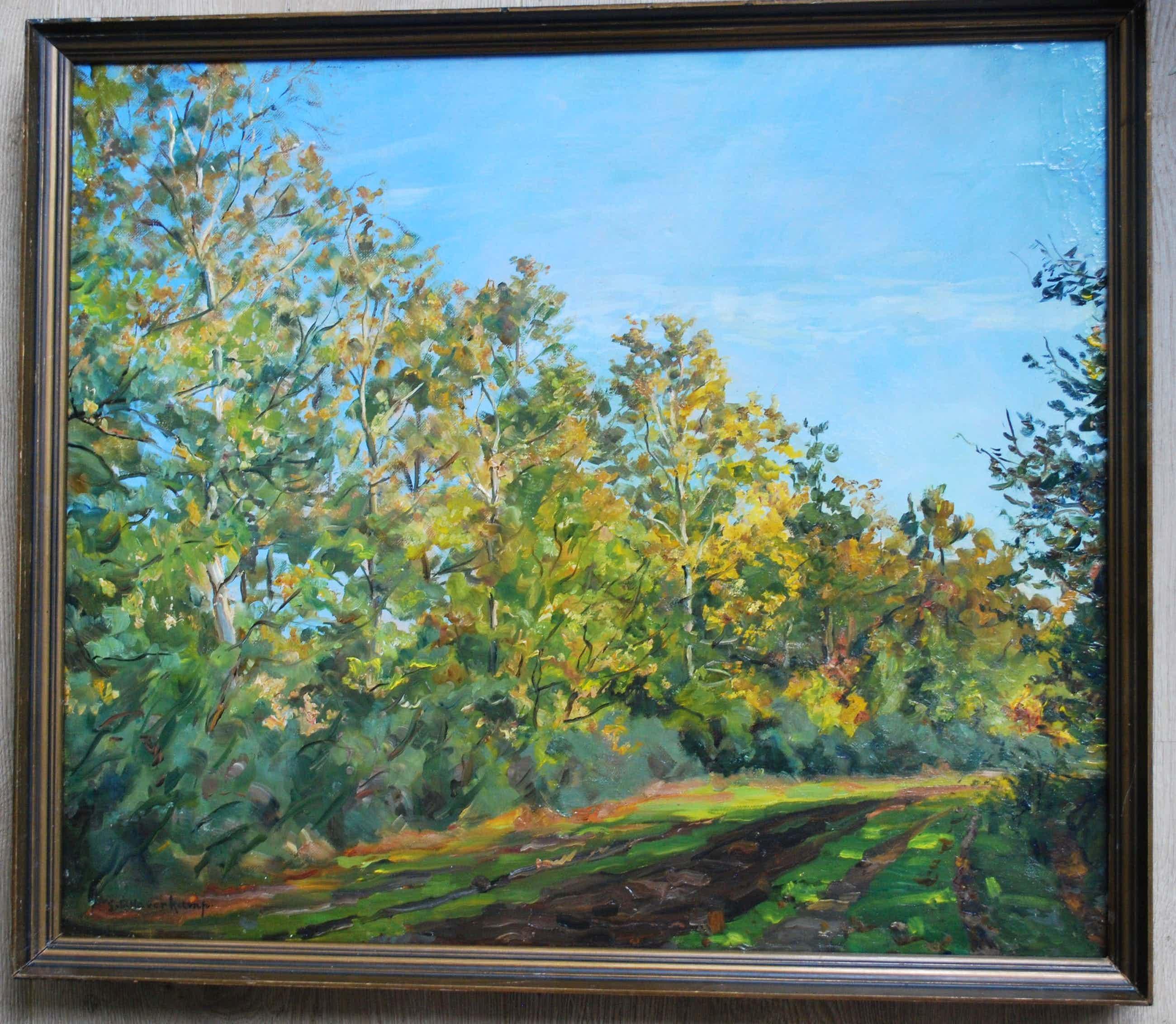 Gerrit Haverkamp - Zonnige bomenlaan - olieverfschilderij kopen? Bied vanaf 275!