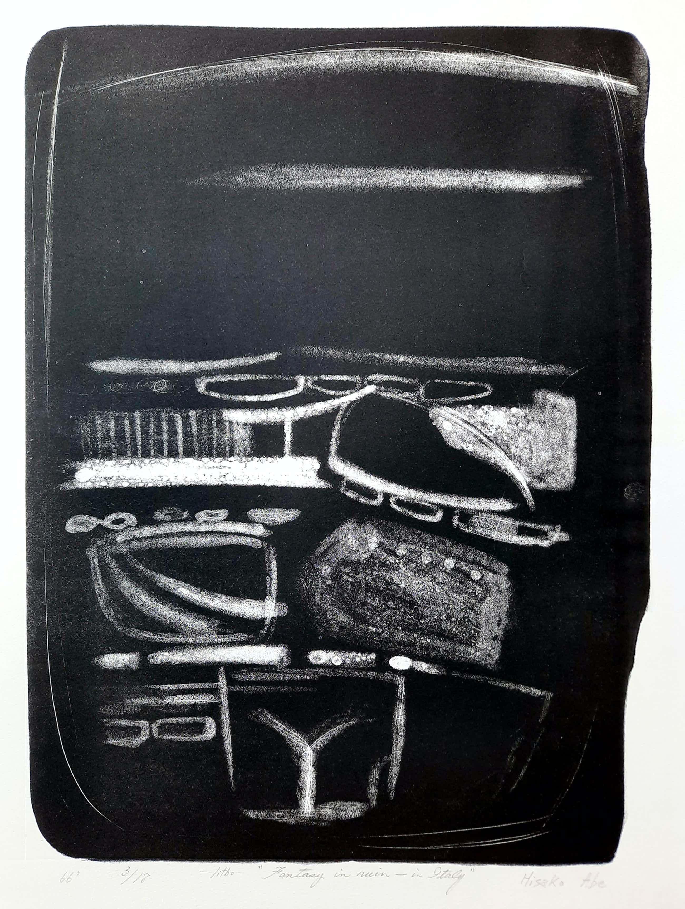 Hisako Viruly Abe - abstracte steendruk - Fantazy in Ruin – in Italy 3/18 kopen? Bied vanaf 1!