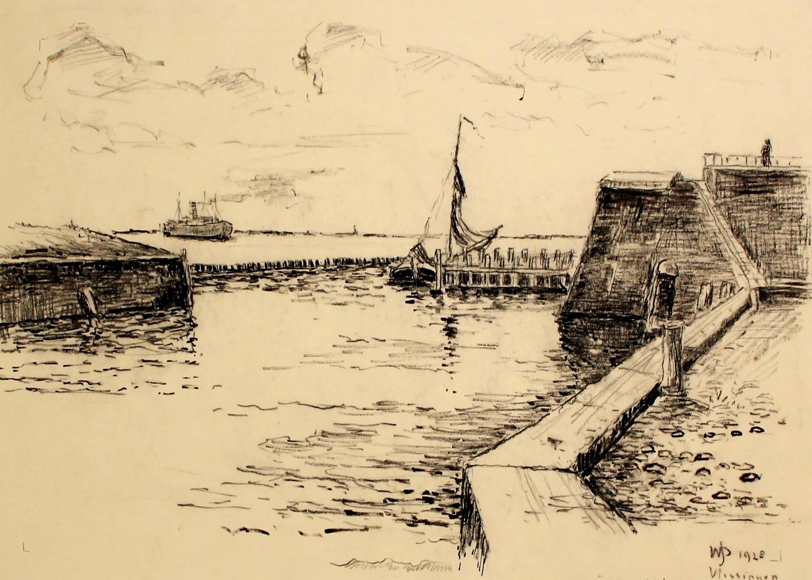 Willem Jans Dijk - tekening: Vlissingen ingang vissershaven - 1928 kopen? Bied vanaf 105!
