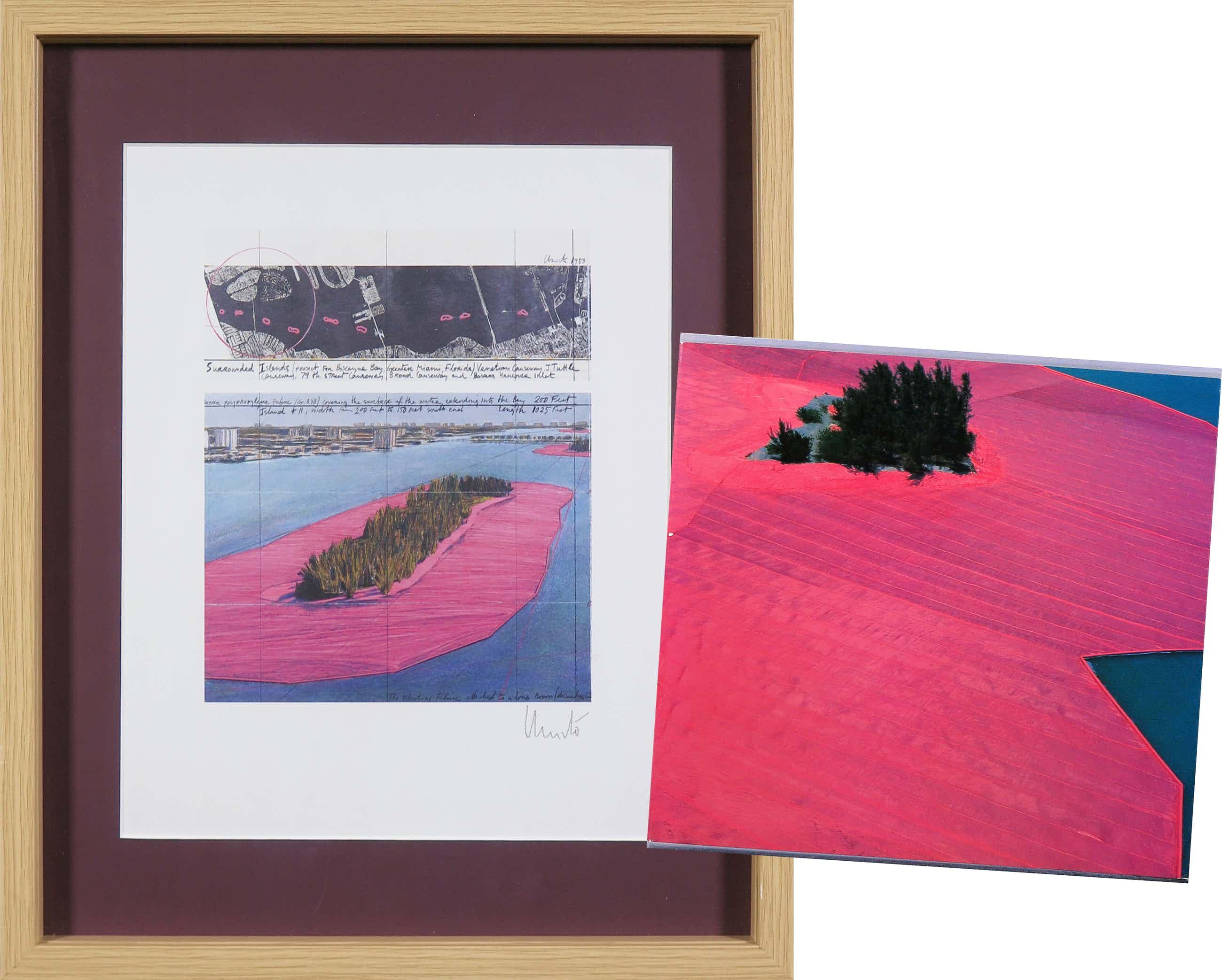 Christo - Handgesigneerd exemplaar Surrounded Islands + boek met gesigneerde artcard! - Ingelijst kopen? Bied vanaf 440!