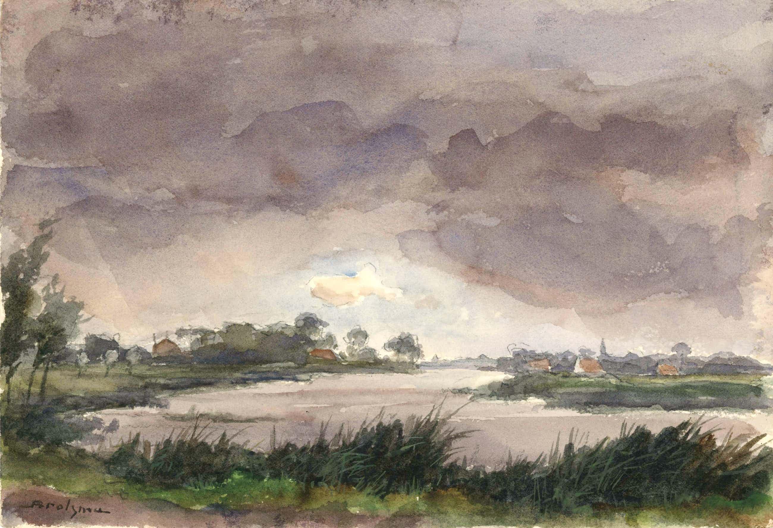 Johannes Hessel Brolsma - aquarel van rivierlandschap - 21533 kopen? Bied vanaf 125!