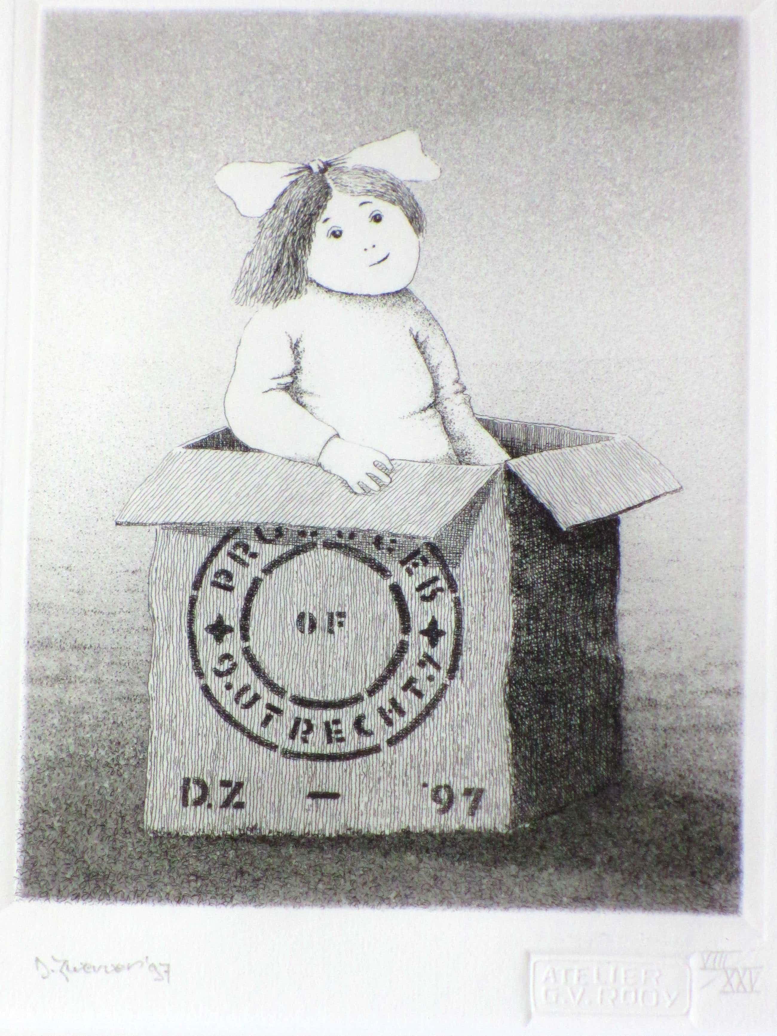 Dolf Zwerver - Meisje uit doos - Ets kopen? Bied vanaf 145!
