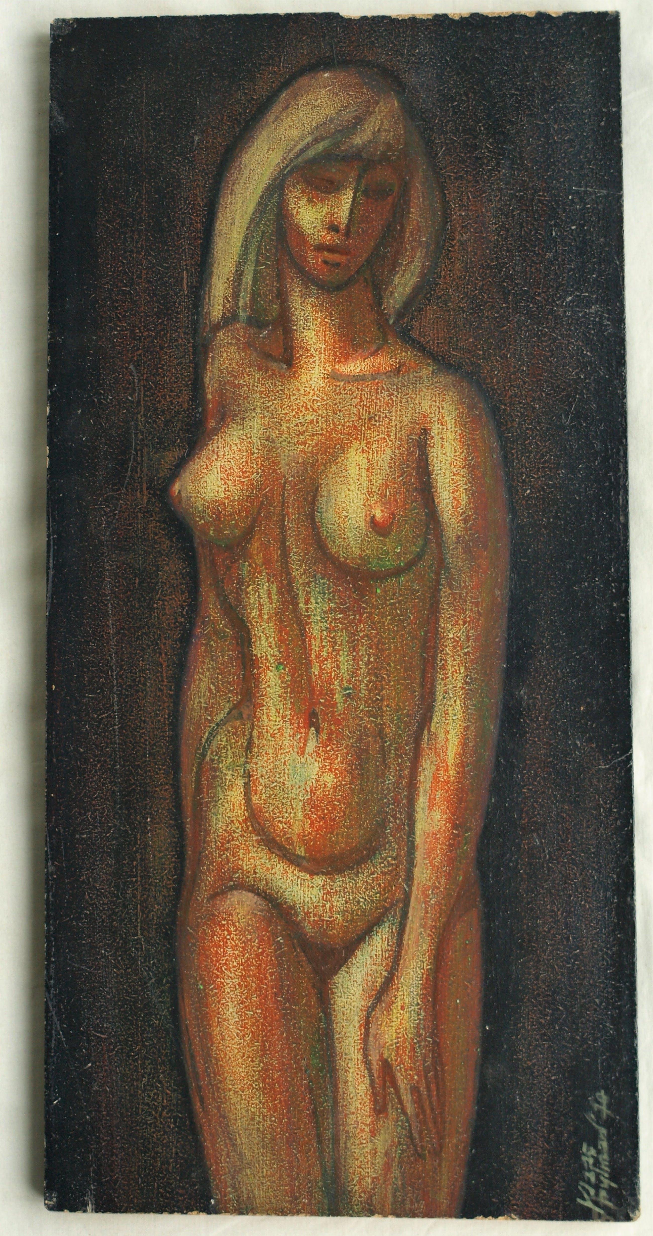 Klaas Pijlman - Olieverf op paneel , Naakte vrouw – gesigneerd – 1970 kopen? Bied vanaf 35!
