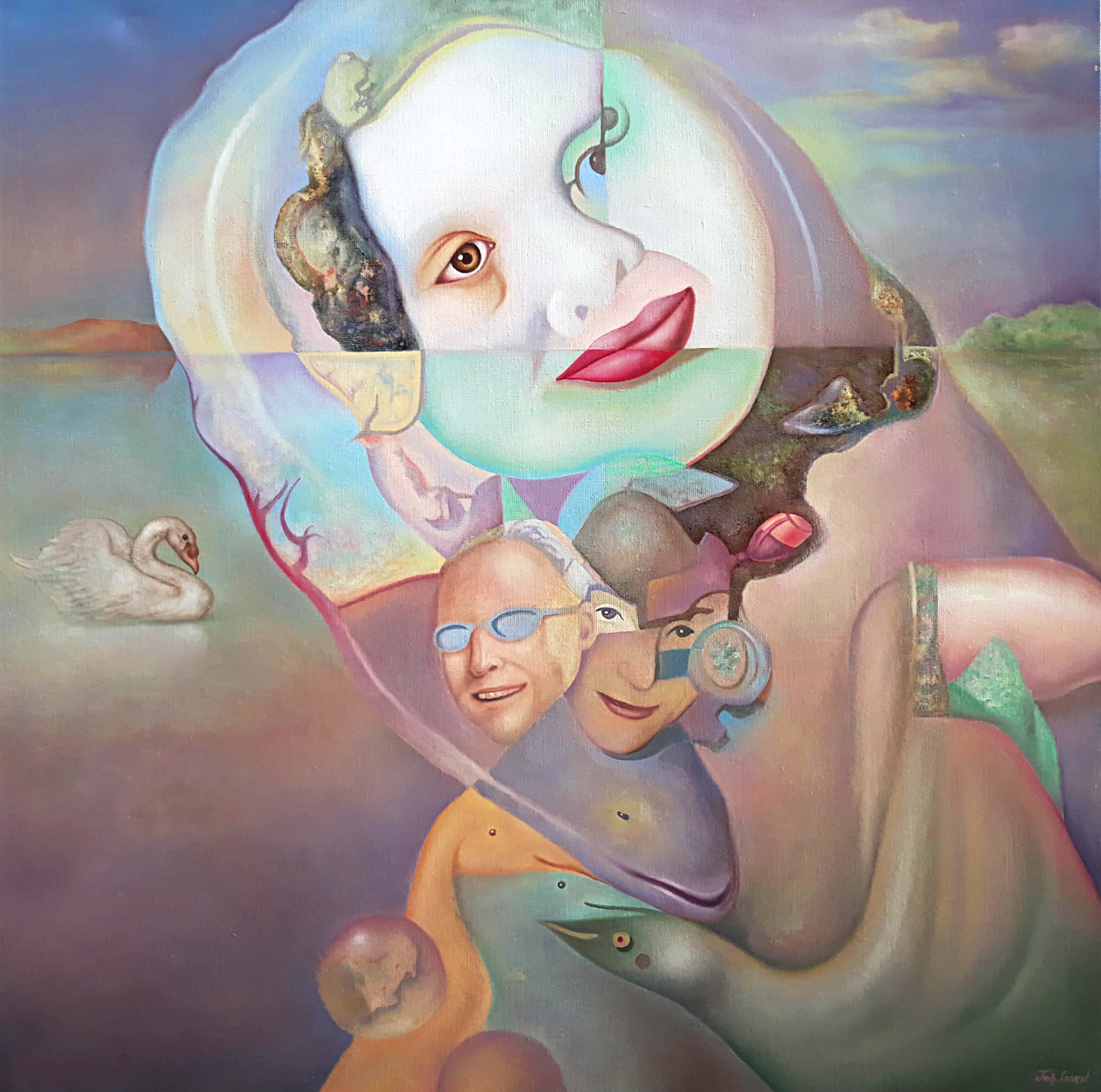 Johannes Garst - Surrealistisch tafereel, olieverf op doek (ingelijst, groot) kopen? Bied vanaf 185!