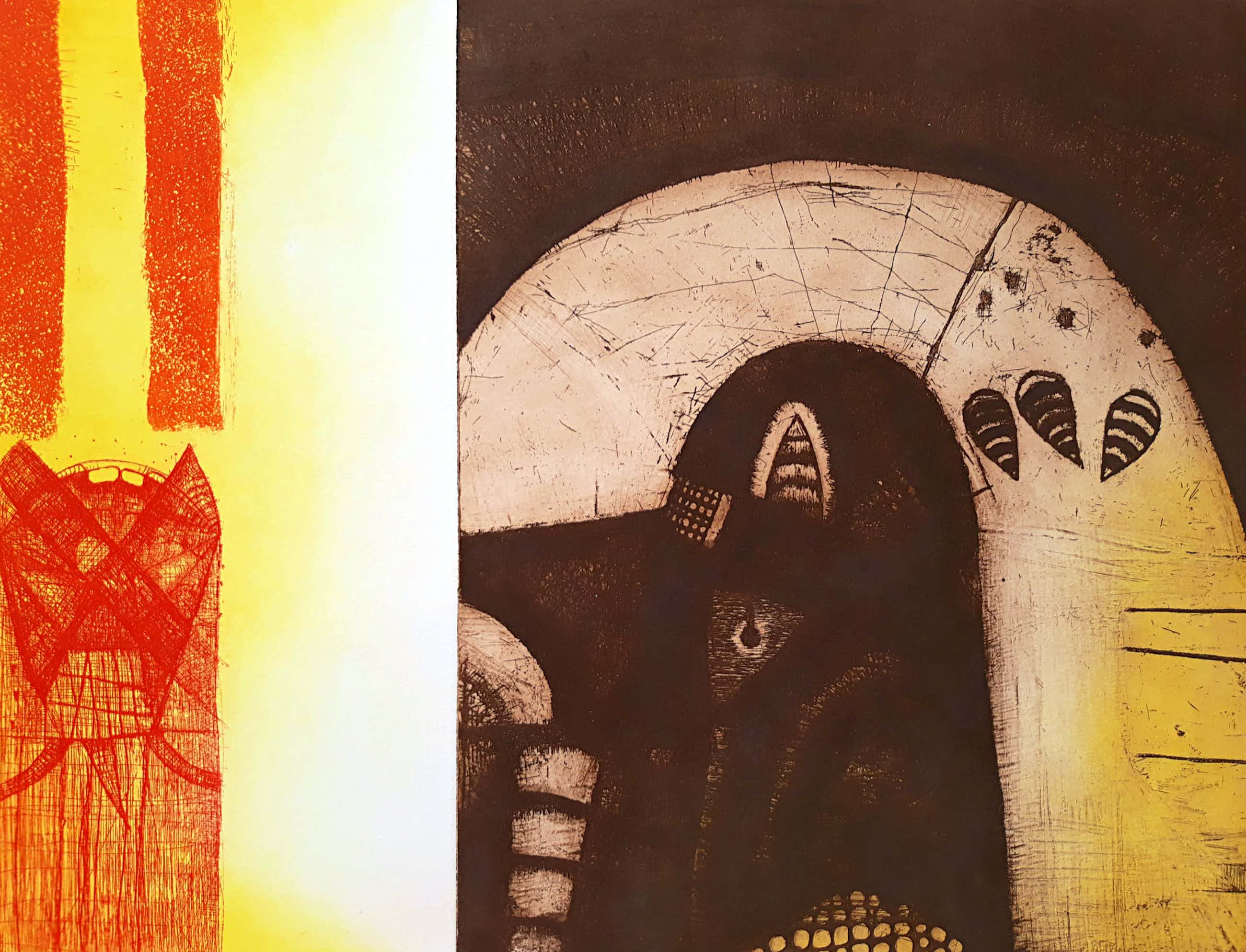 Guillaume Le Roy - Abstracte compositie, aquatint ets kopen? Bied vanaf 60!
