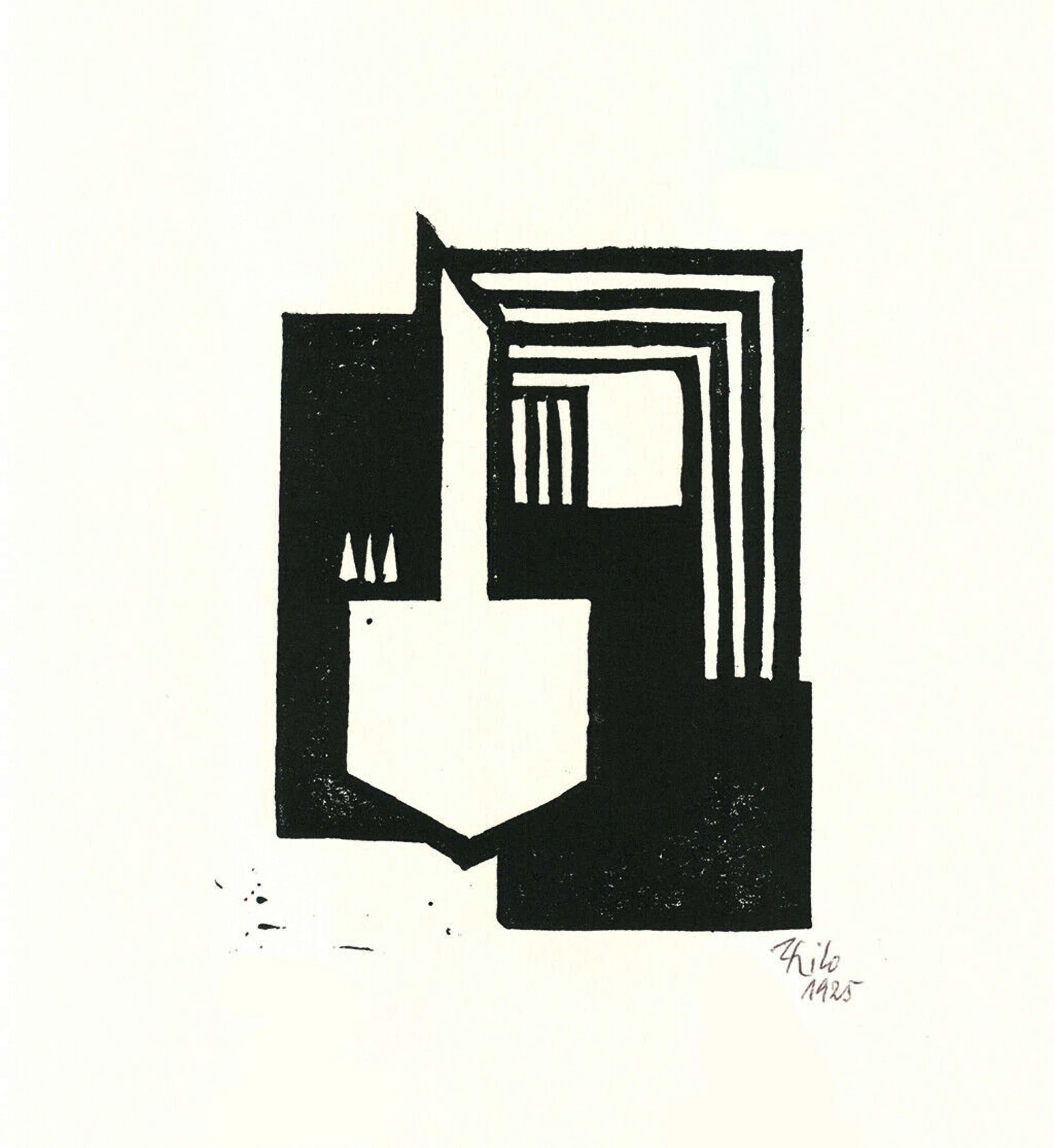 Thilo Maatsch - Handgesigneerde houtsnede: Abstracte Compositie kopen? Bied vanaf 35!