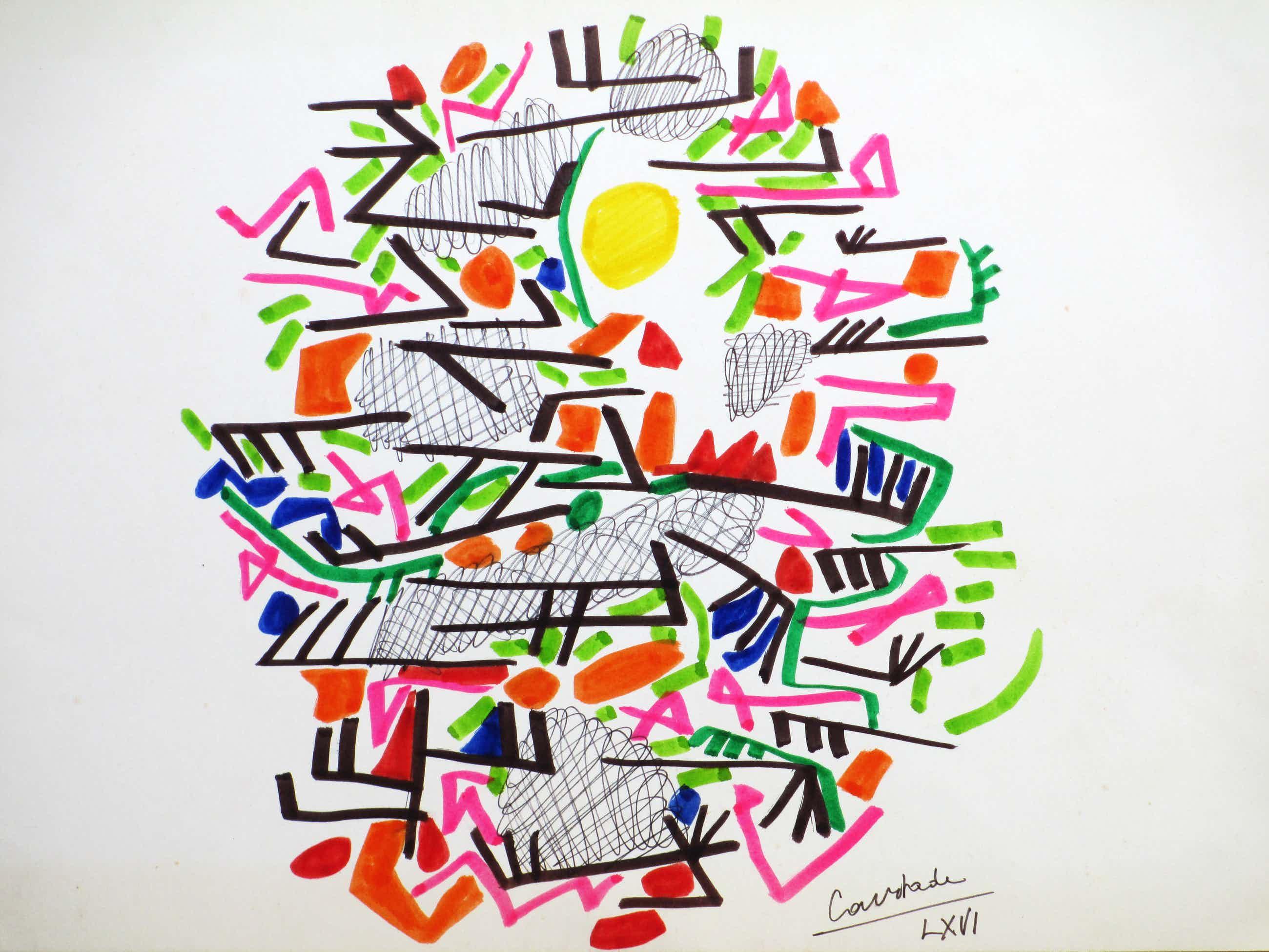 Jacques Courtade - Modern abstracte Compositie - Kleurenlitho kopen? Bied vanaf 50!