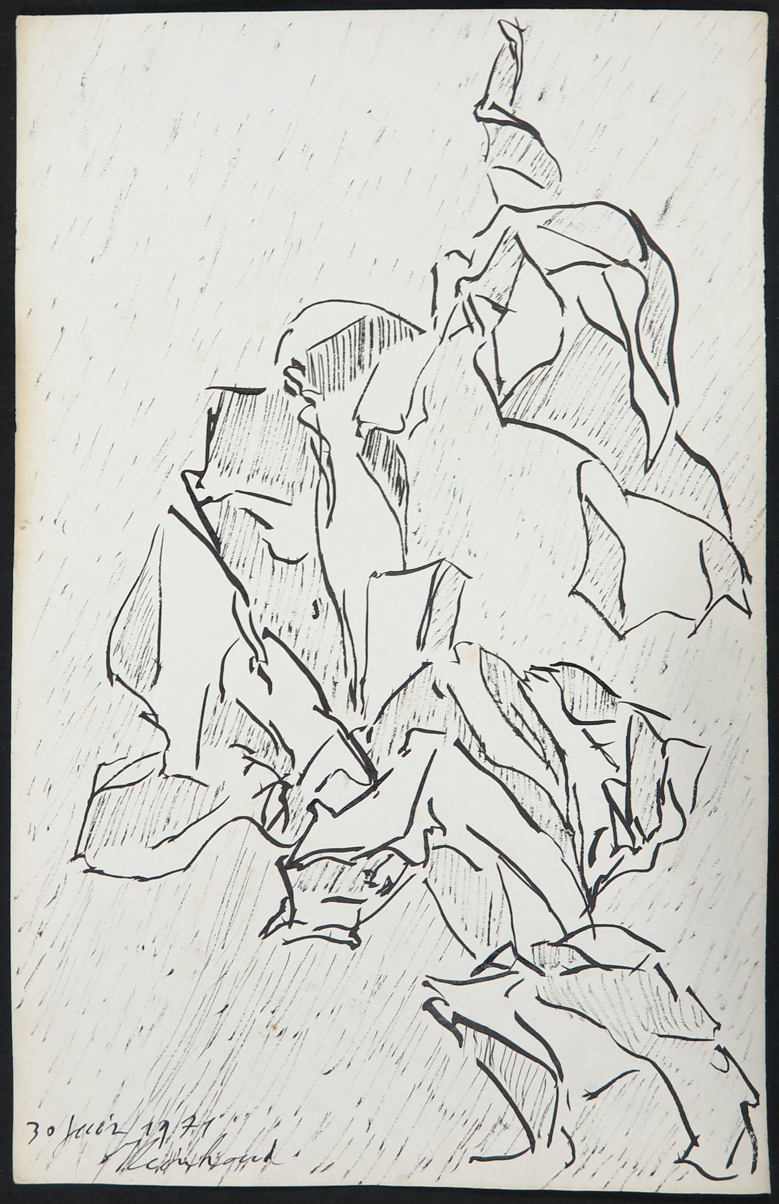 Reinhoud D'Haese - Inkttekening, Abstracte compositie kopen? Bied vanaf 150!