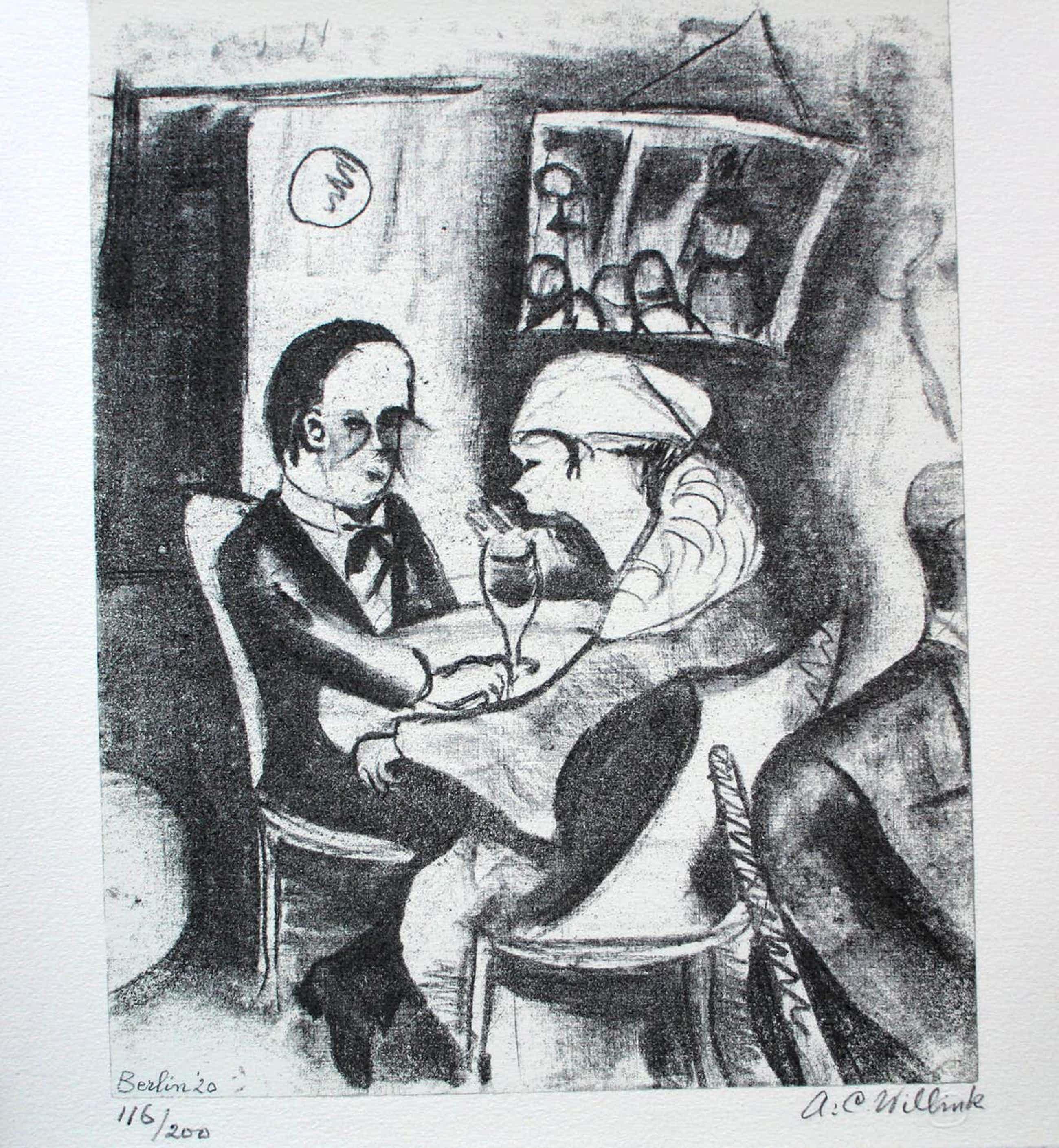 Carel Willink - litho: koppel in een bar - 1920 kopen? Bied vanaf 350!
