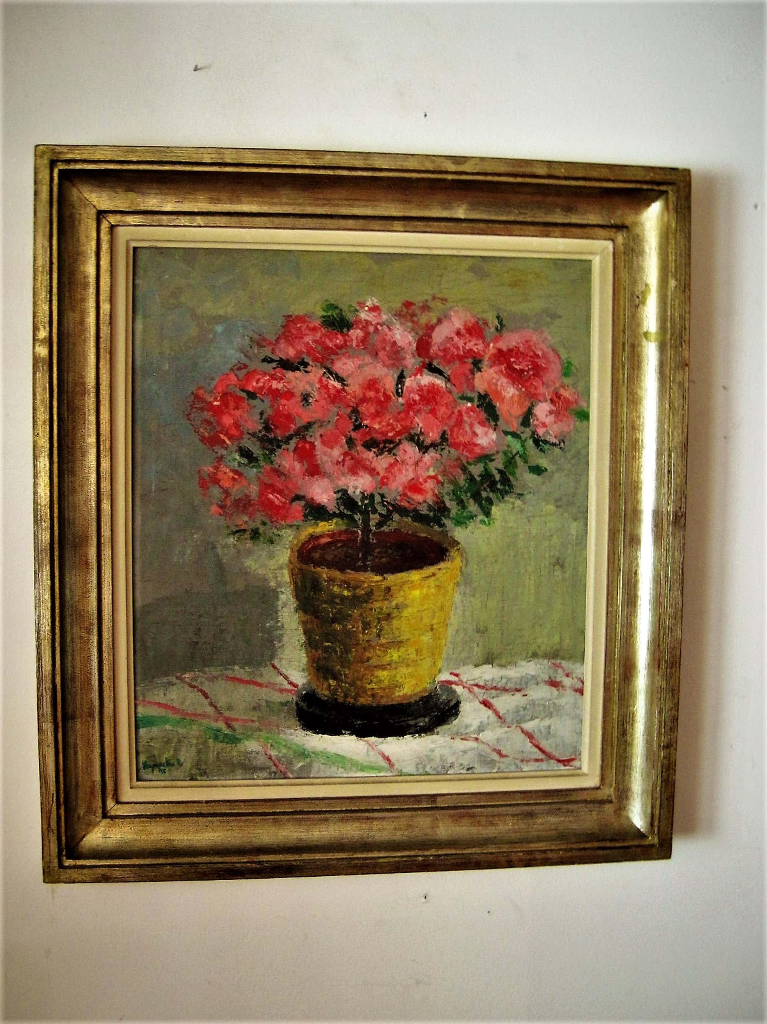 """Frans Verpoorten - """"Haarlemse Vijftiger"""" - Expressionistisch Olieverf - """"Rode potplant"""" gesigneerd kopen? Bied vanaf 40!"""