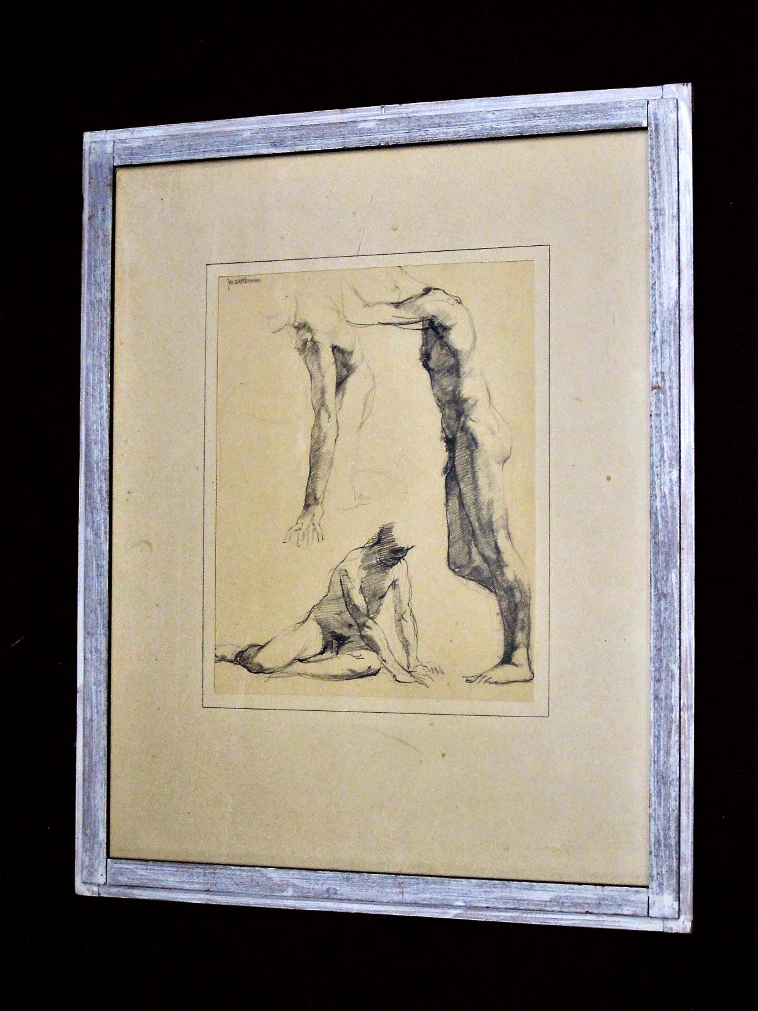 Jan Battermann - Vroege Figuratieve potloodtekening - studie mannelijk Naakt - gesigneerd kopen? Bied vanaf 35!