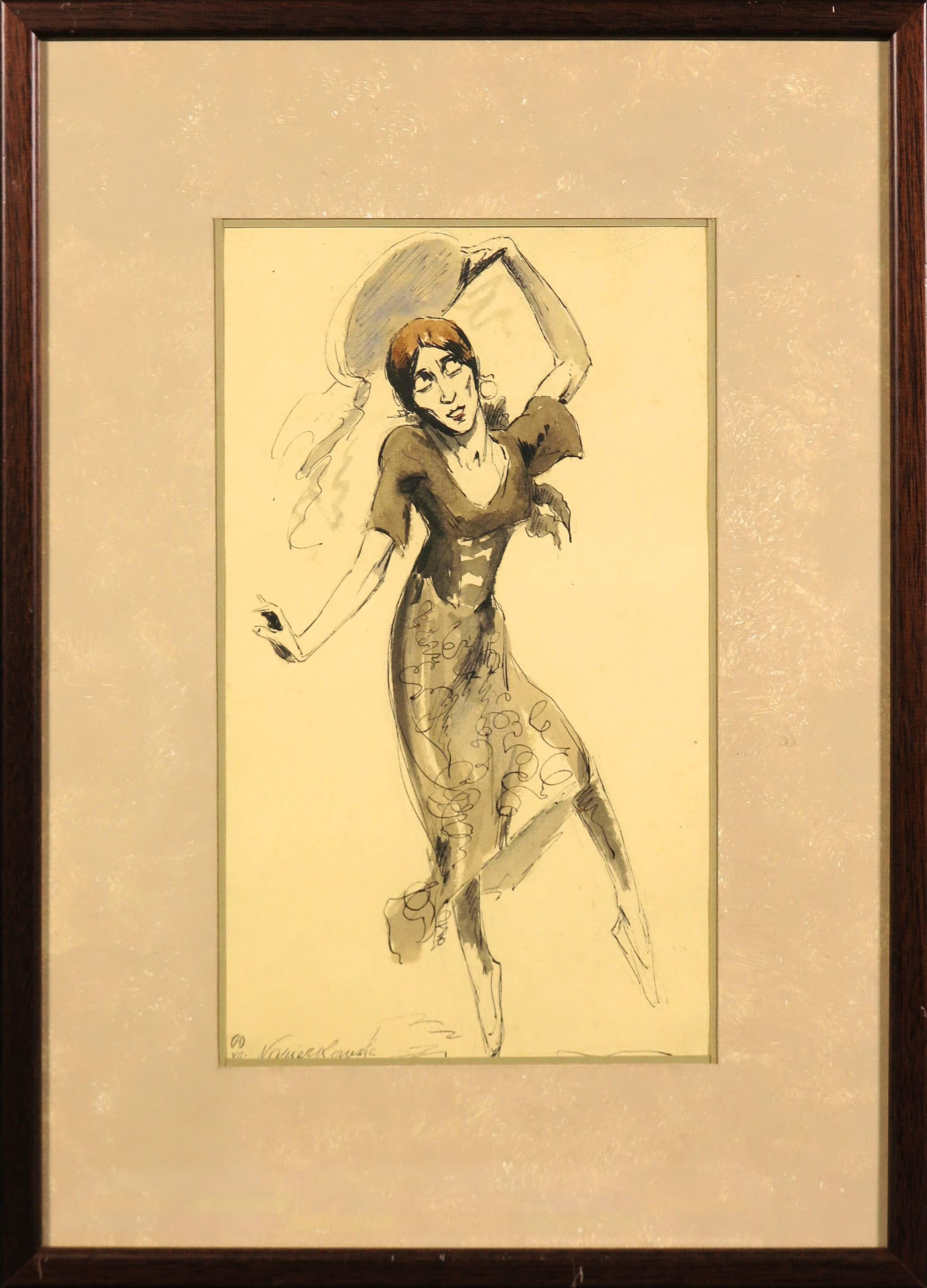 Alfred Ost - Inkt en aquarel, Stacia Napierkowska als Esmeralda kopen? Bied vanaf 150!