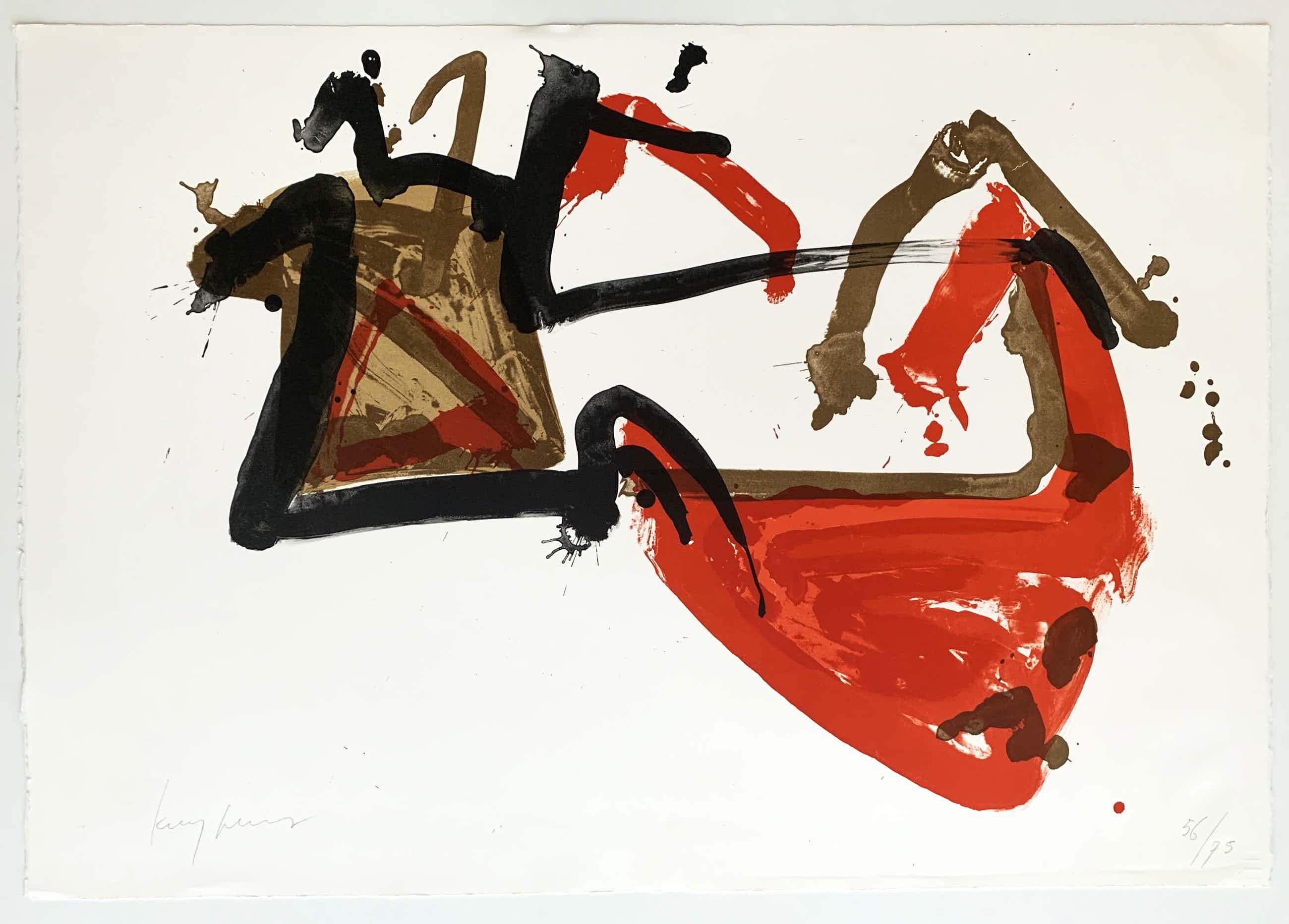 Theo Kuijpers - kleurenlitho - abstract expressionistische compositie - oplage 75 ex. kopen? Bied vanaf 120!