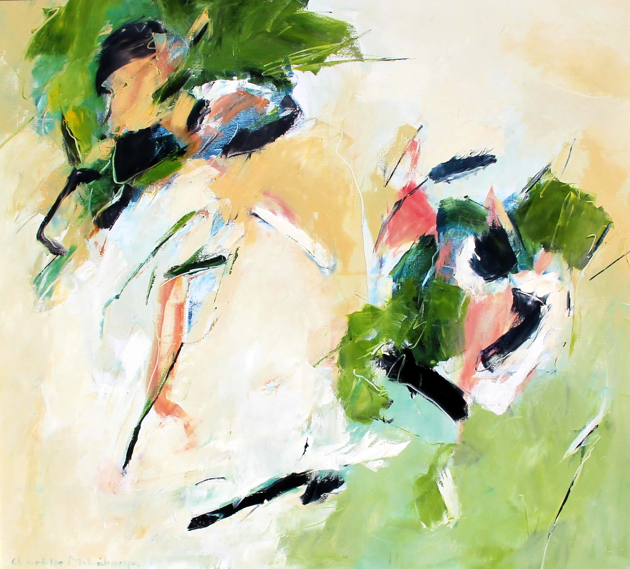 Charlotte Molenkamp - olieverf op doek:abstracte compositie kopen? Bied vanaf 2999!