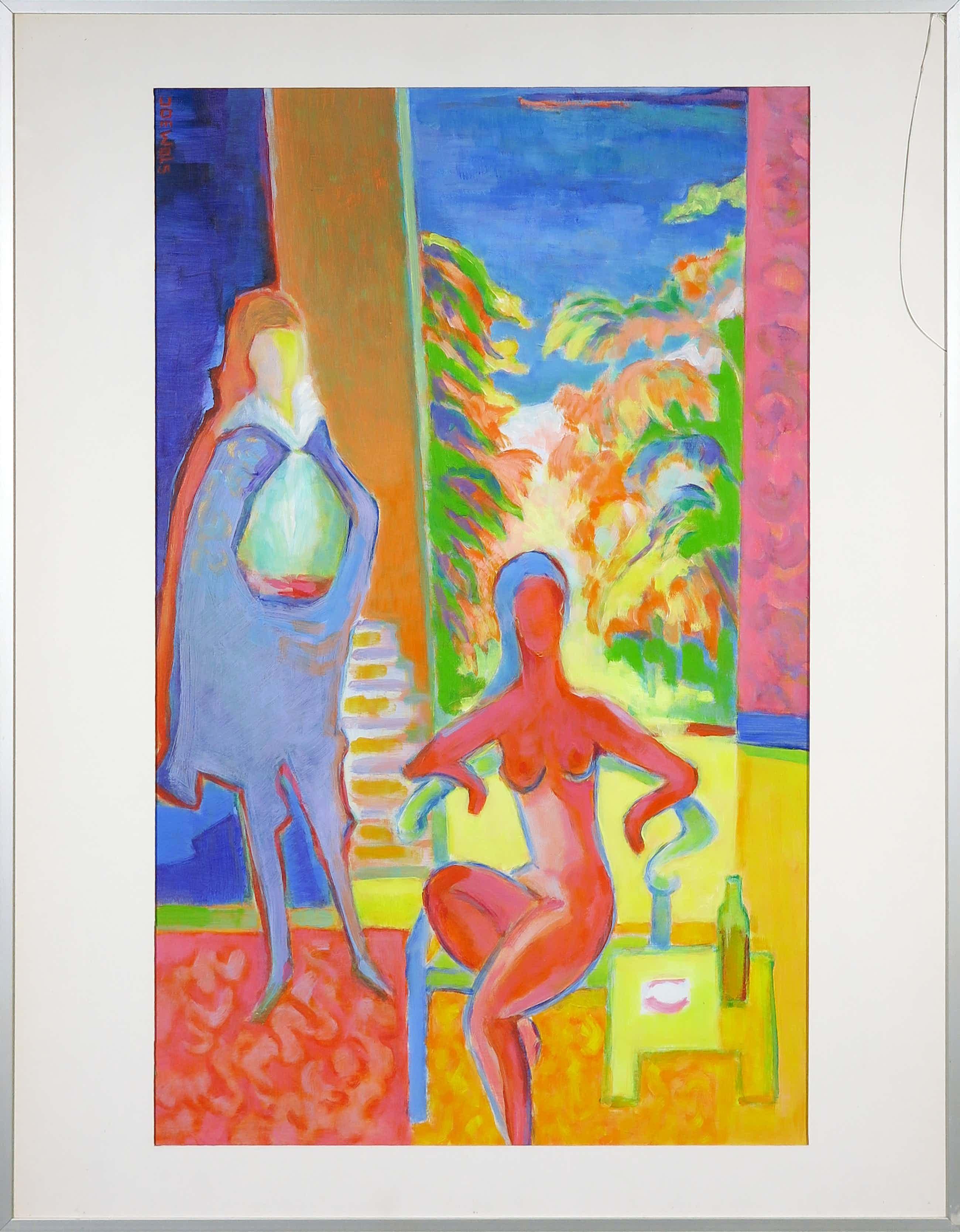 Joe Wols - Acryl op papier, Twee figuren in een interieur - Ingelijst kopen? Bied vanaf 50!
