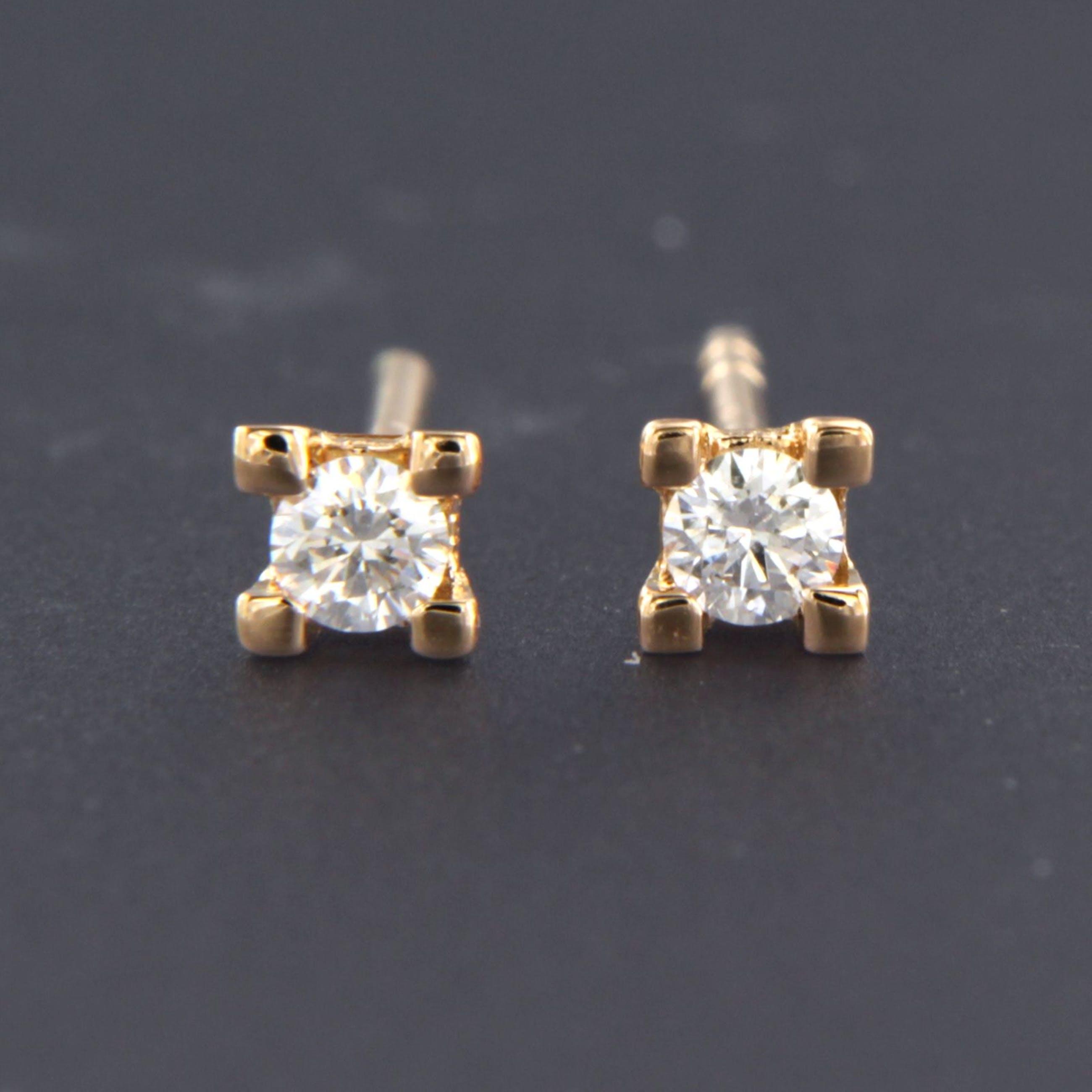 18K Goud - rosé gouden oorknoppen bezet met 0.10 ct diamant kopen? Bied vanaf 160!