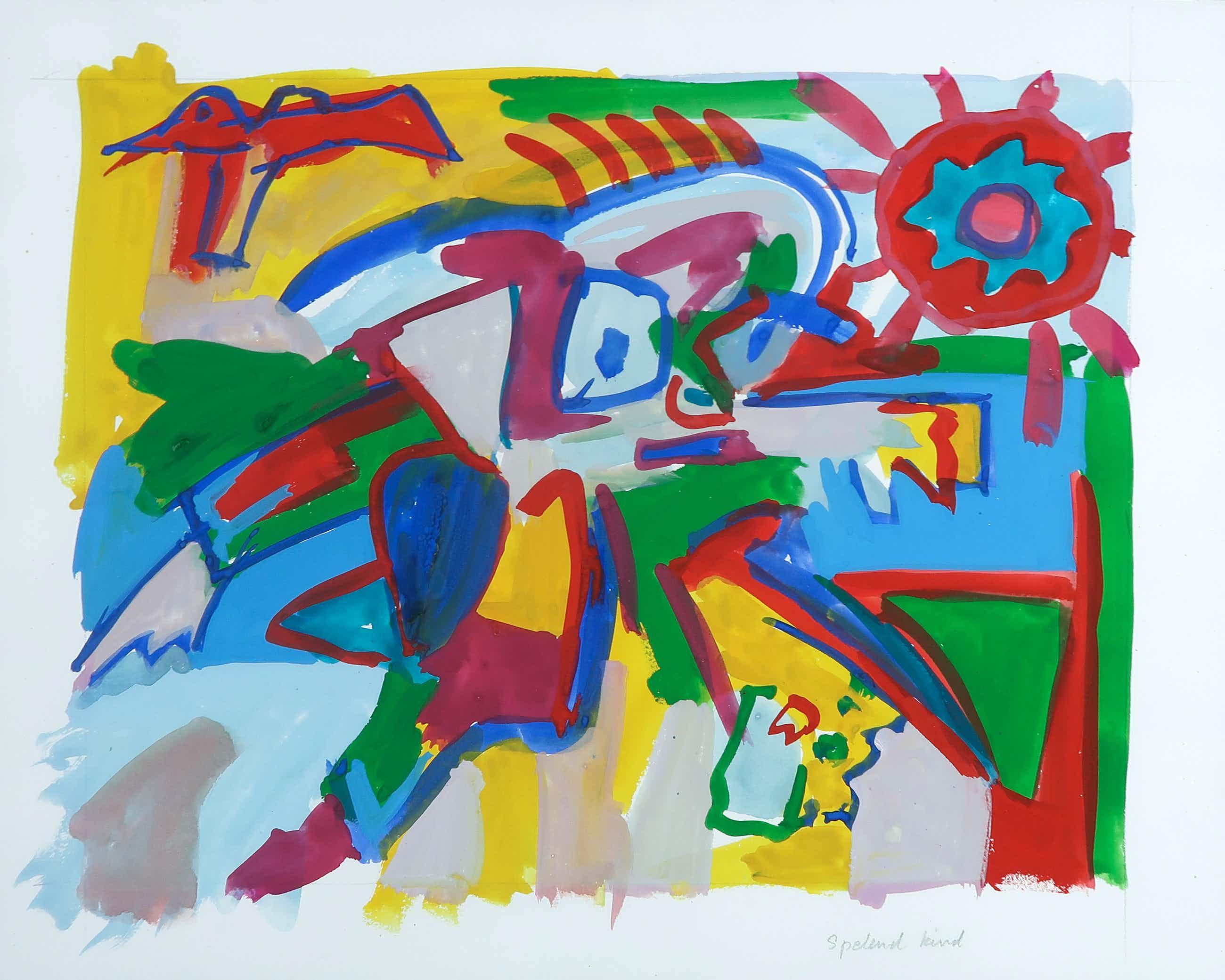 Frank Rosen - Gouache op papier, Spelend Kind kopen? Bied vanaf 35!