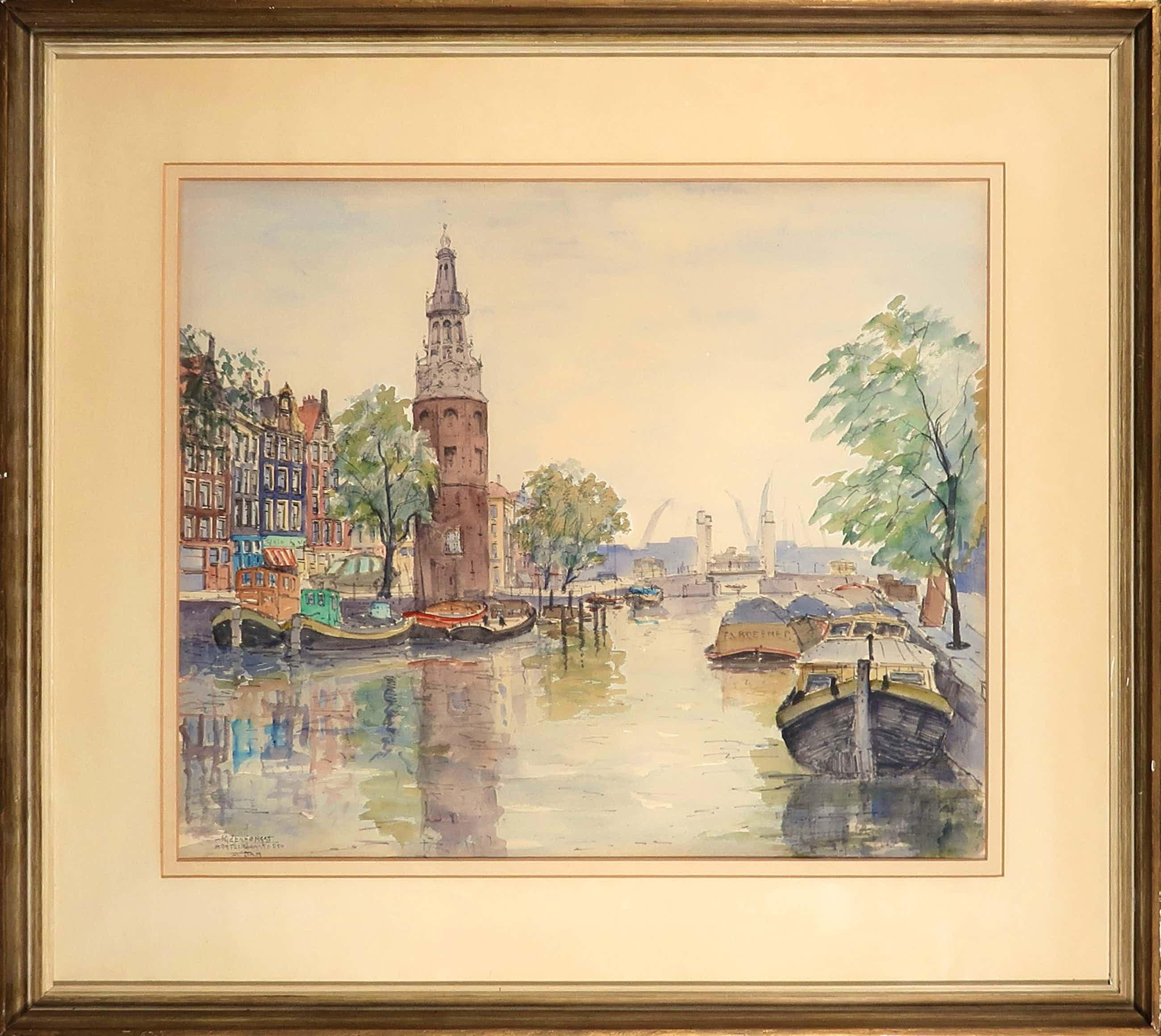 Jan den Hengst - Aquarel, Montelbaanstoren Amsterdam - Ingelijst kopen? Bied vanaf 150!