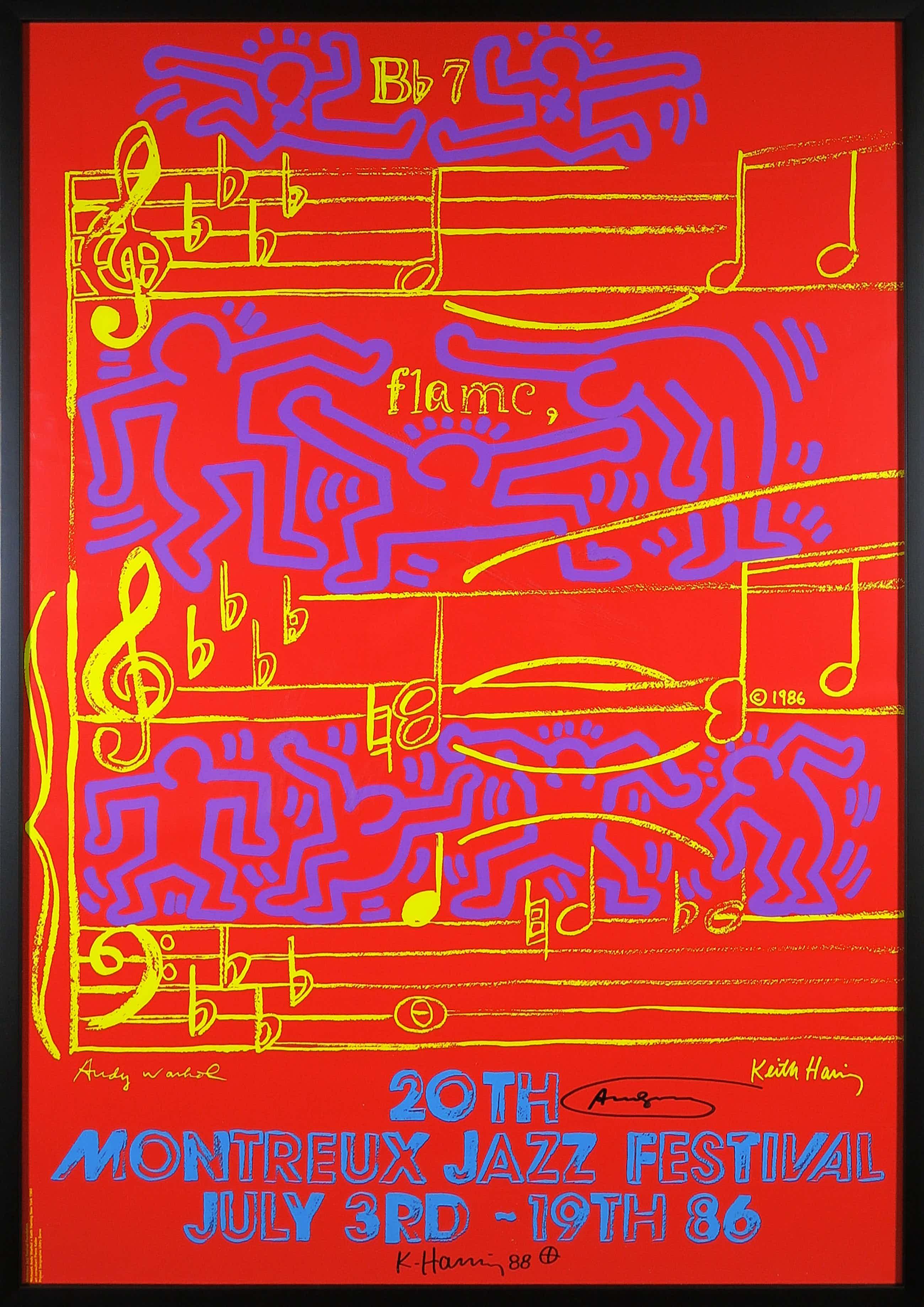 Andy Warhol - & Keith Haring - Handgesigneerde zeefdruk, 20th Montreux Jazz Festival - Ingelijst kopen? Bied vanaf 2620!