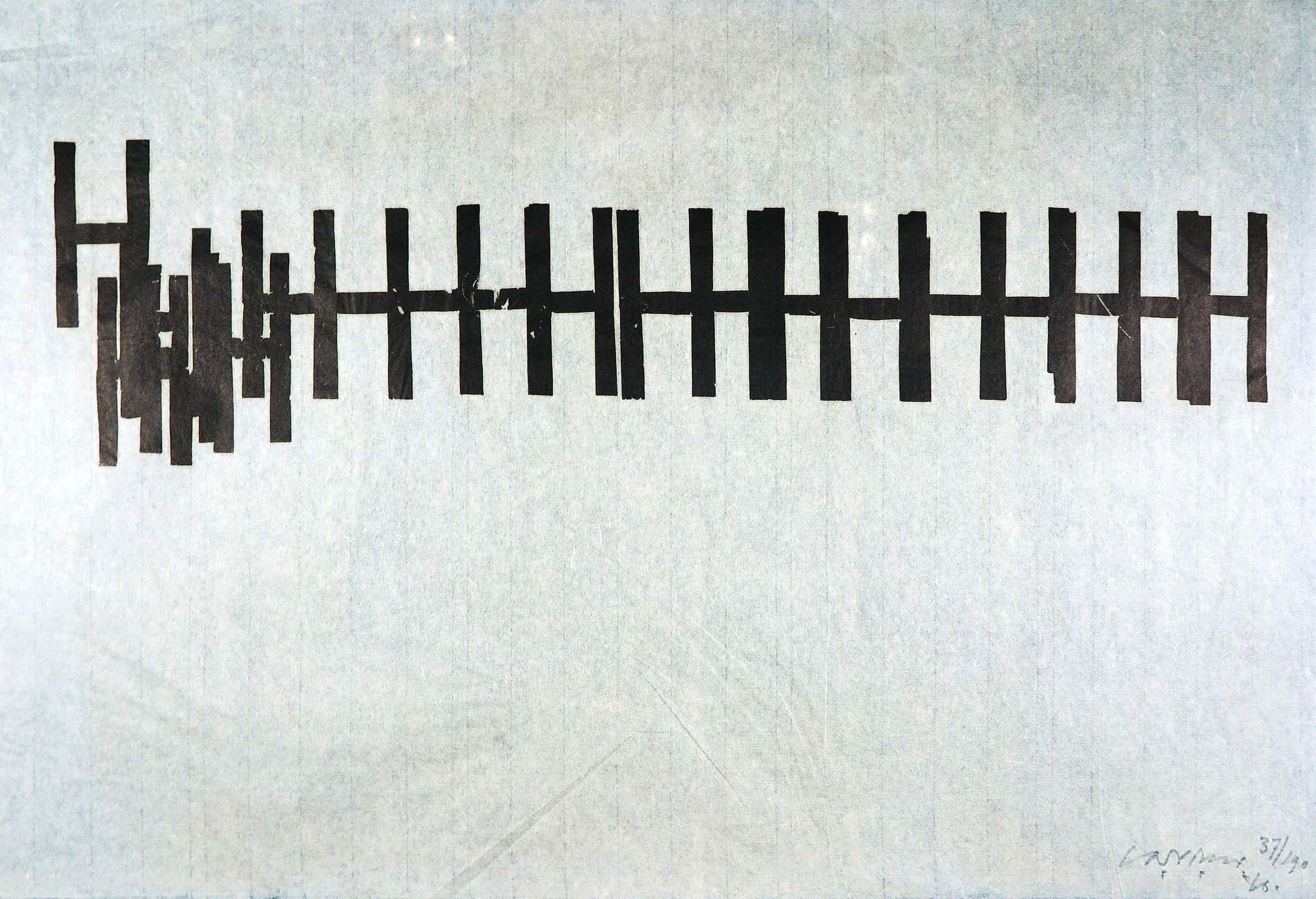 Carel Visser - Houtsnede op Japans papier, Geometrische abstract kopen? Bied vanaf 200!