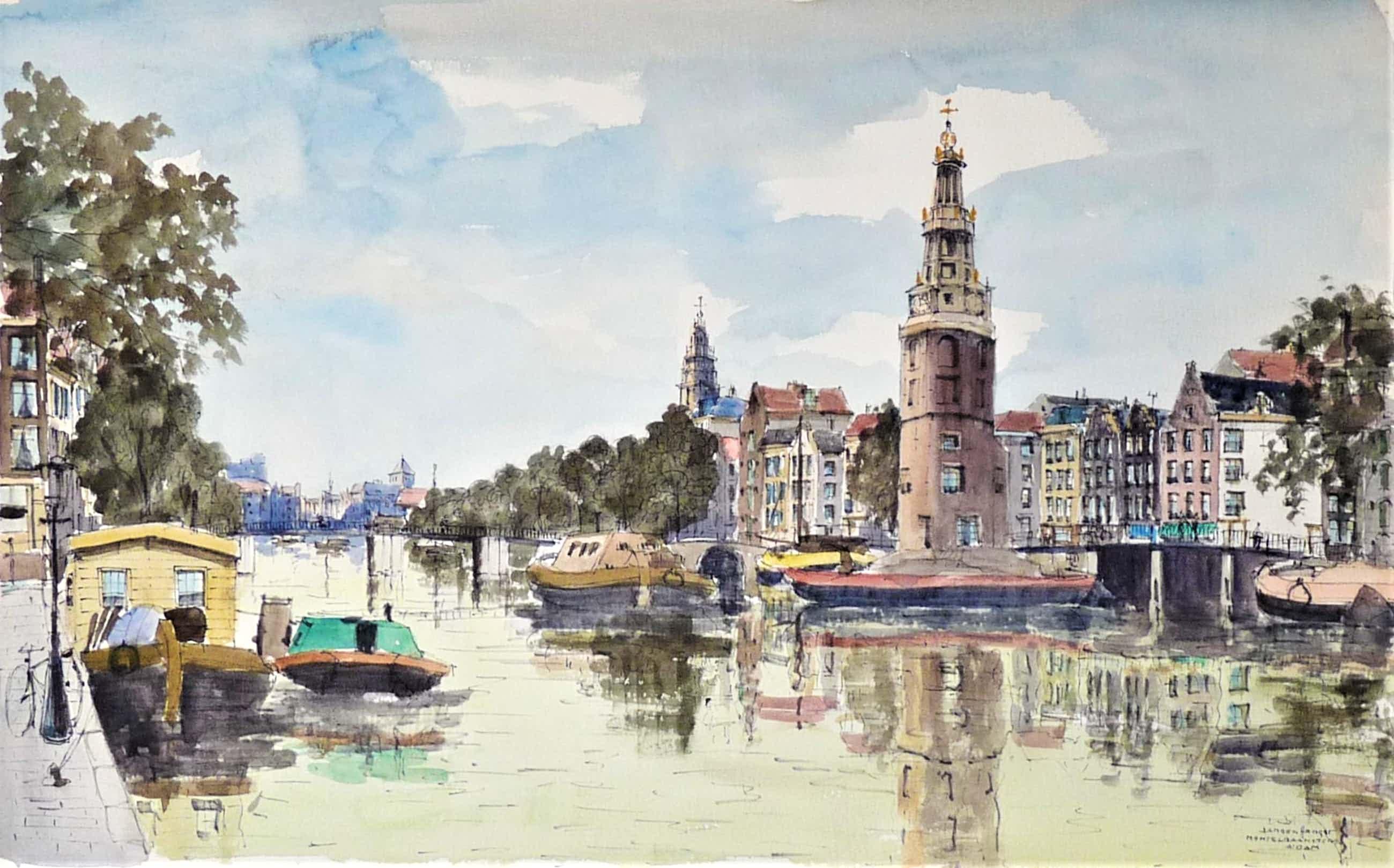 Jan den Hengst - Stadsgezicht Montelbaanstoren Amsterdam kopen? Bied vanaf 175!