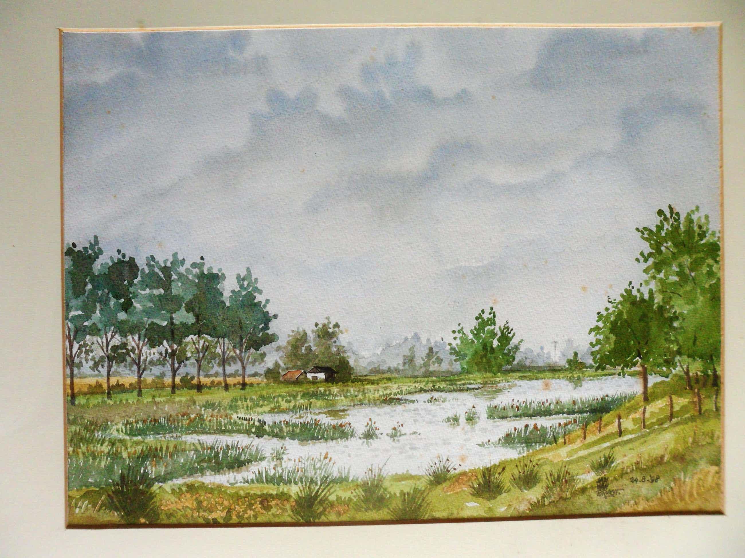Jan van Bragt - Aquarel , landschap met een meertje en bomen. kopen? Bied vanaf 20!