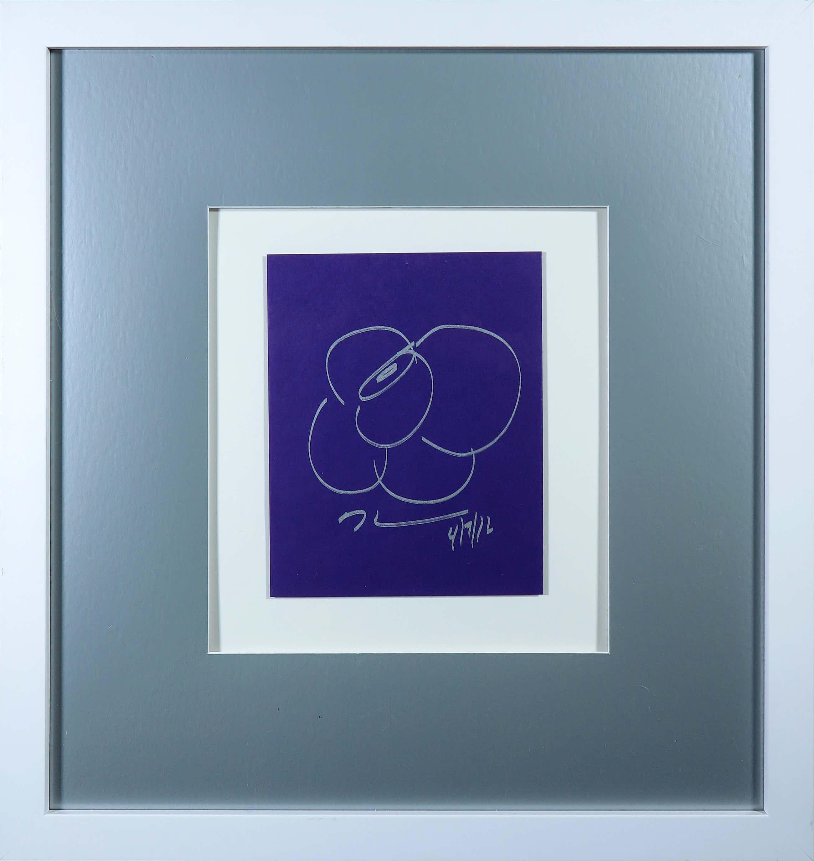 Jeff Koons - Tekening in zilveren stift op paars papier - Ingelijst (+ Boek) kopen? Bied vanaf 530!