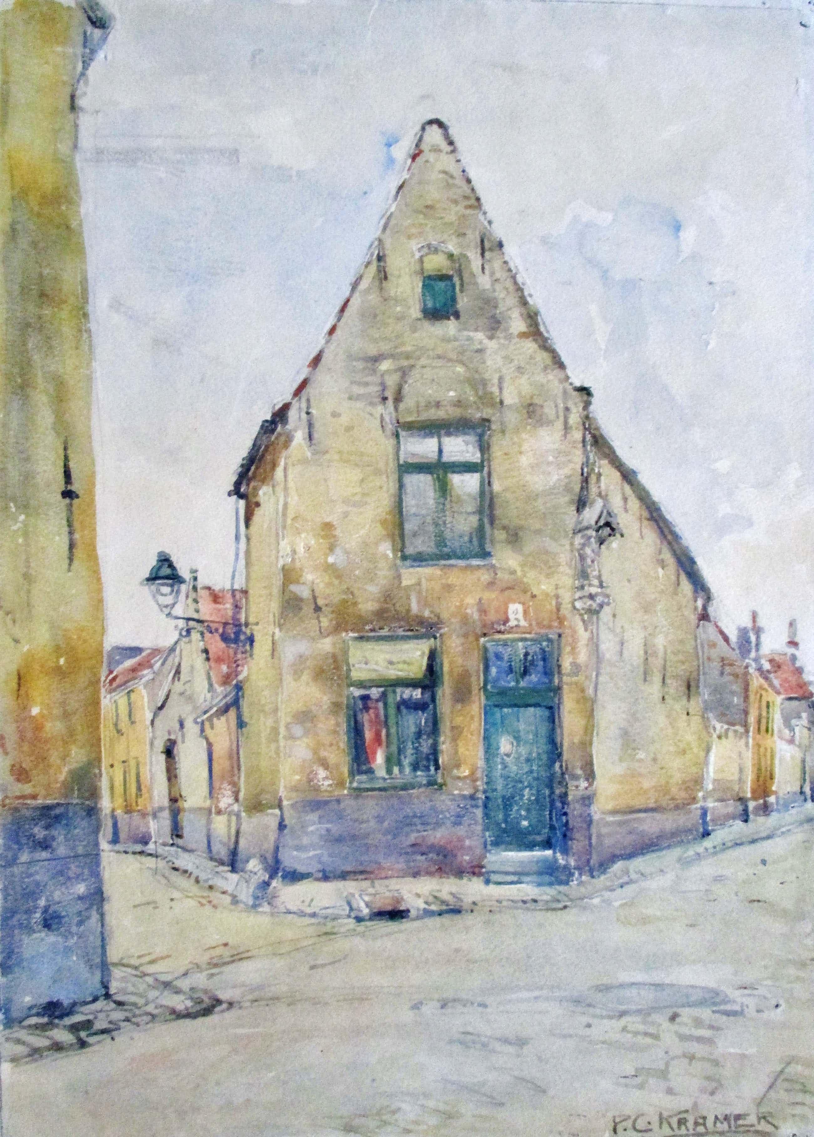 Piet Kramer - Aquarel stadsgezicht kopen? Bied vanaf 30!