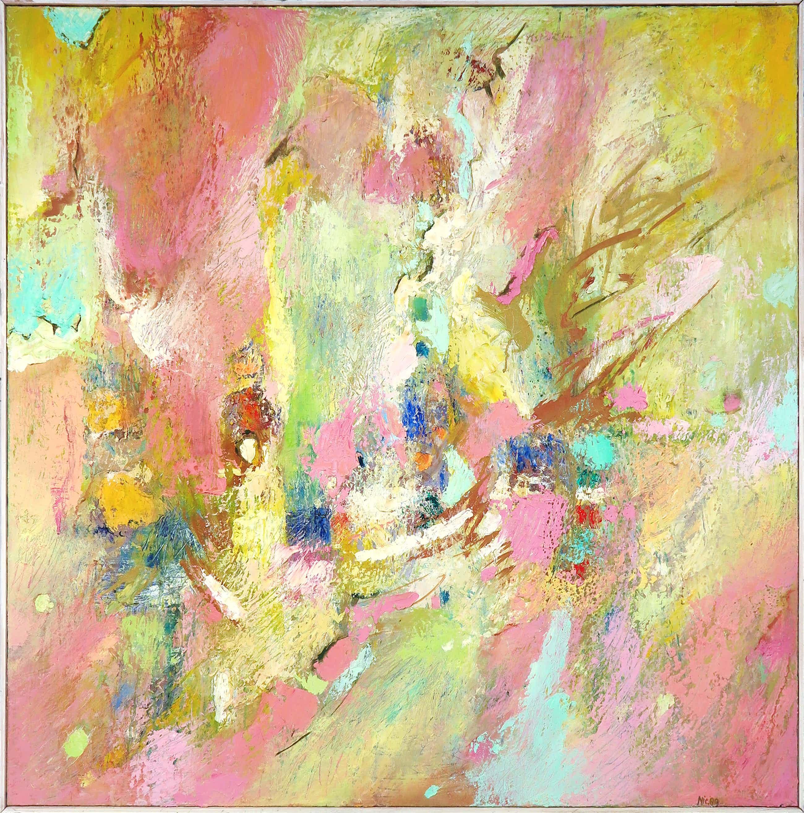 Frans Nicolai - Olieverf op doek, Abstract landschap - Ingelijst (Zeer groot) kopen? Bied vanaf 376!