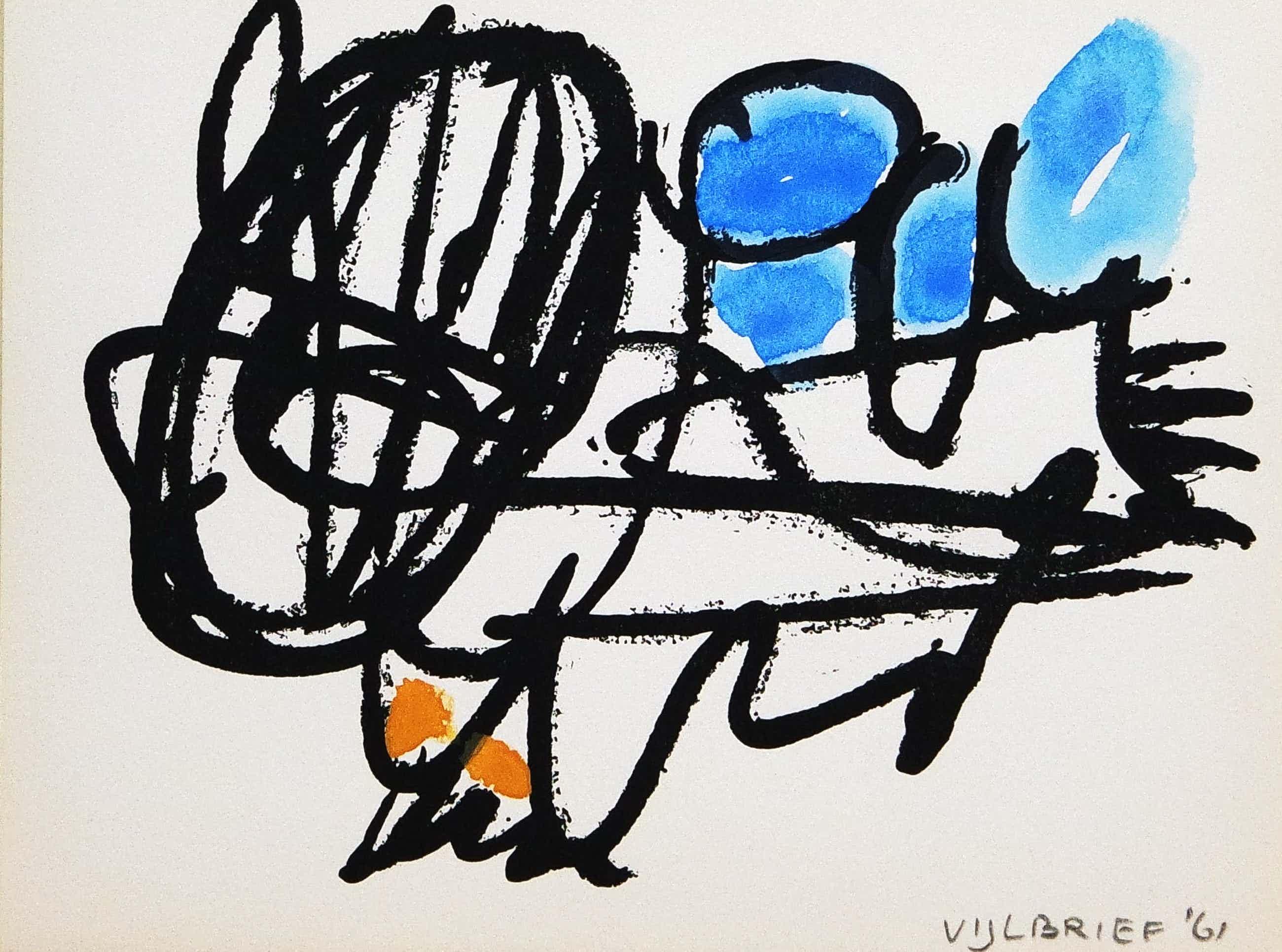 Ernst Vijlbrief - handgesigneerde zeefdruk - abstracte compositie kopen? Bied vanaf 85!